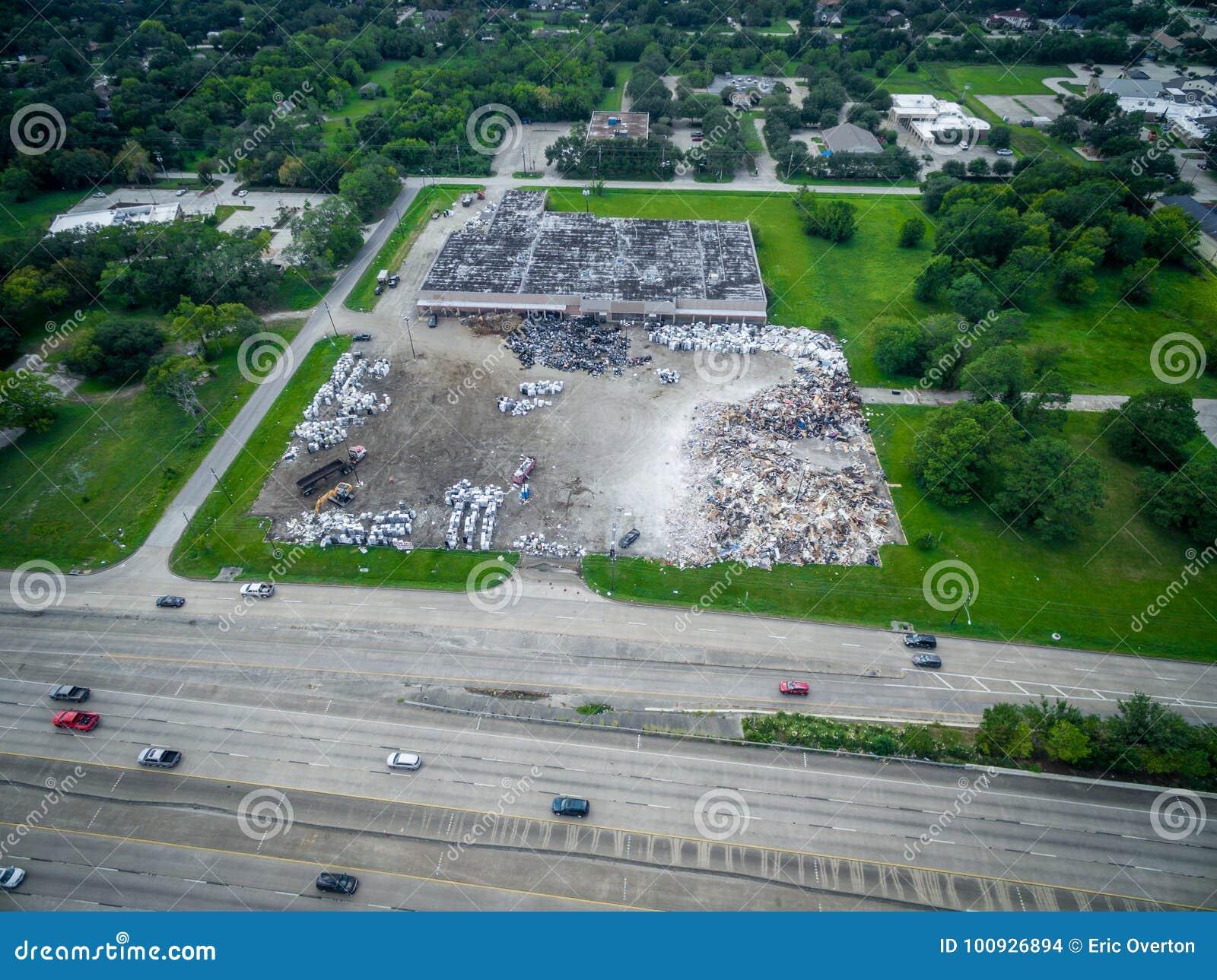 Trash and debris outside of Houston homes