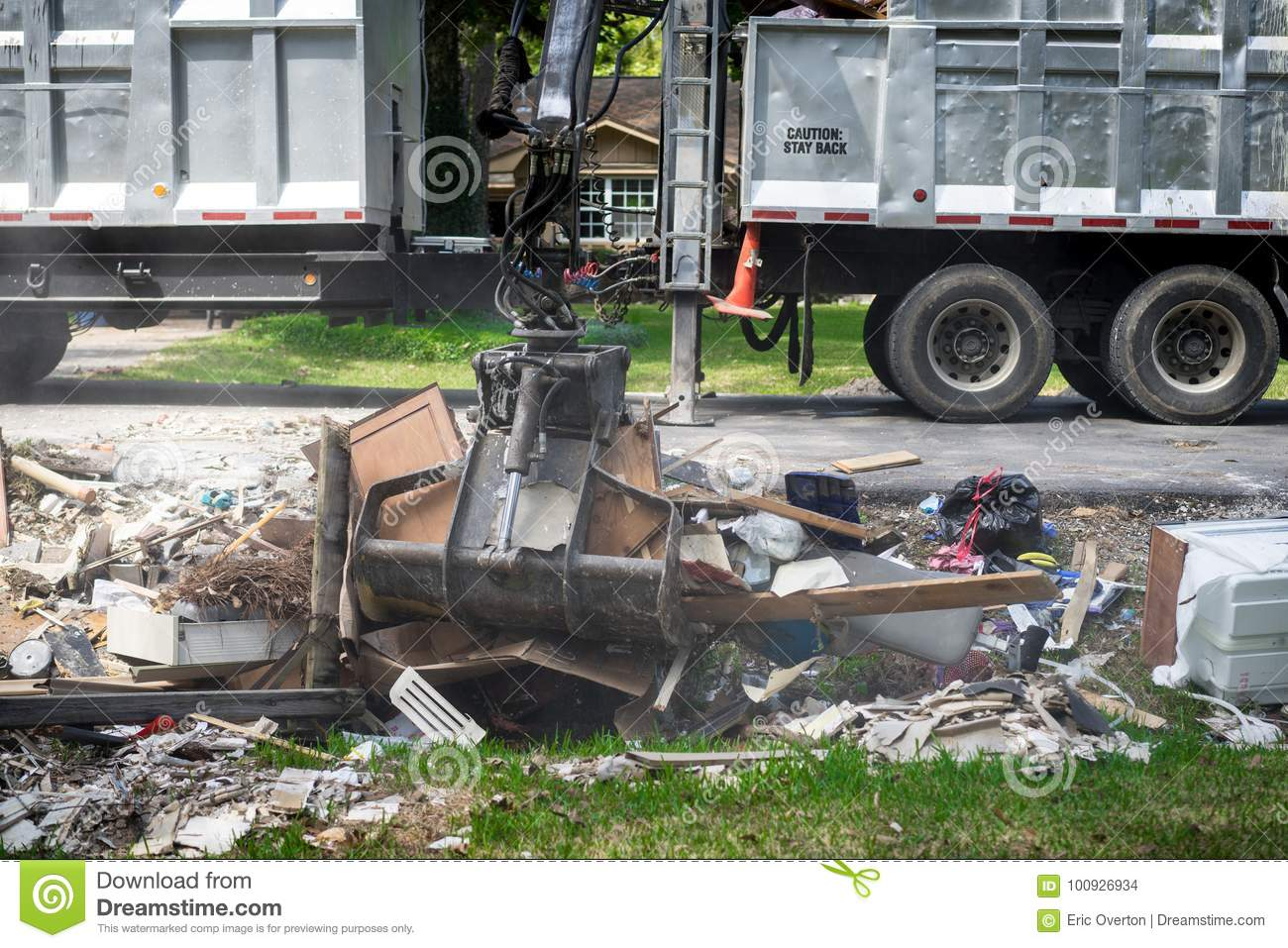 Trash and debris outside of Houston homes