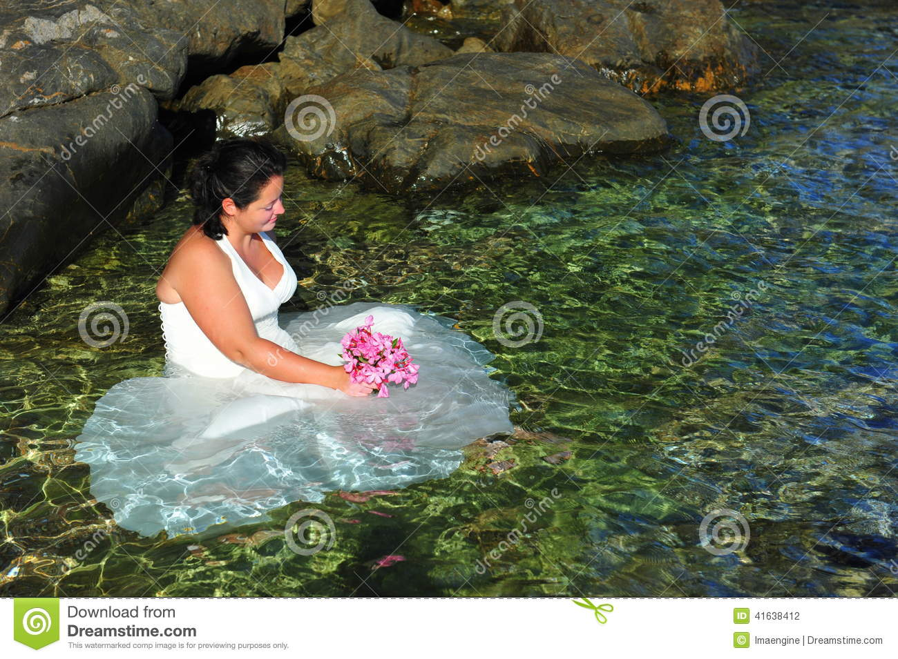 Trash The Dress Beautiful Bride In Crystal Clear Sea