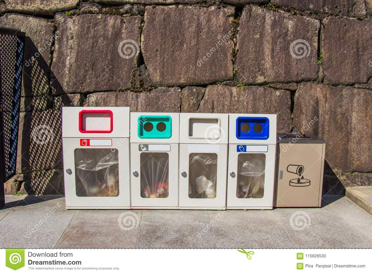 Trash each type of garbage at castle area or important places, J
