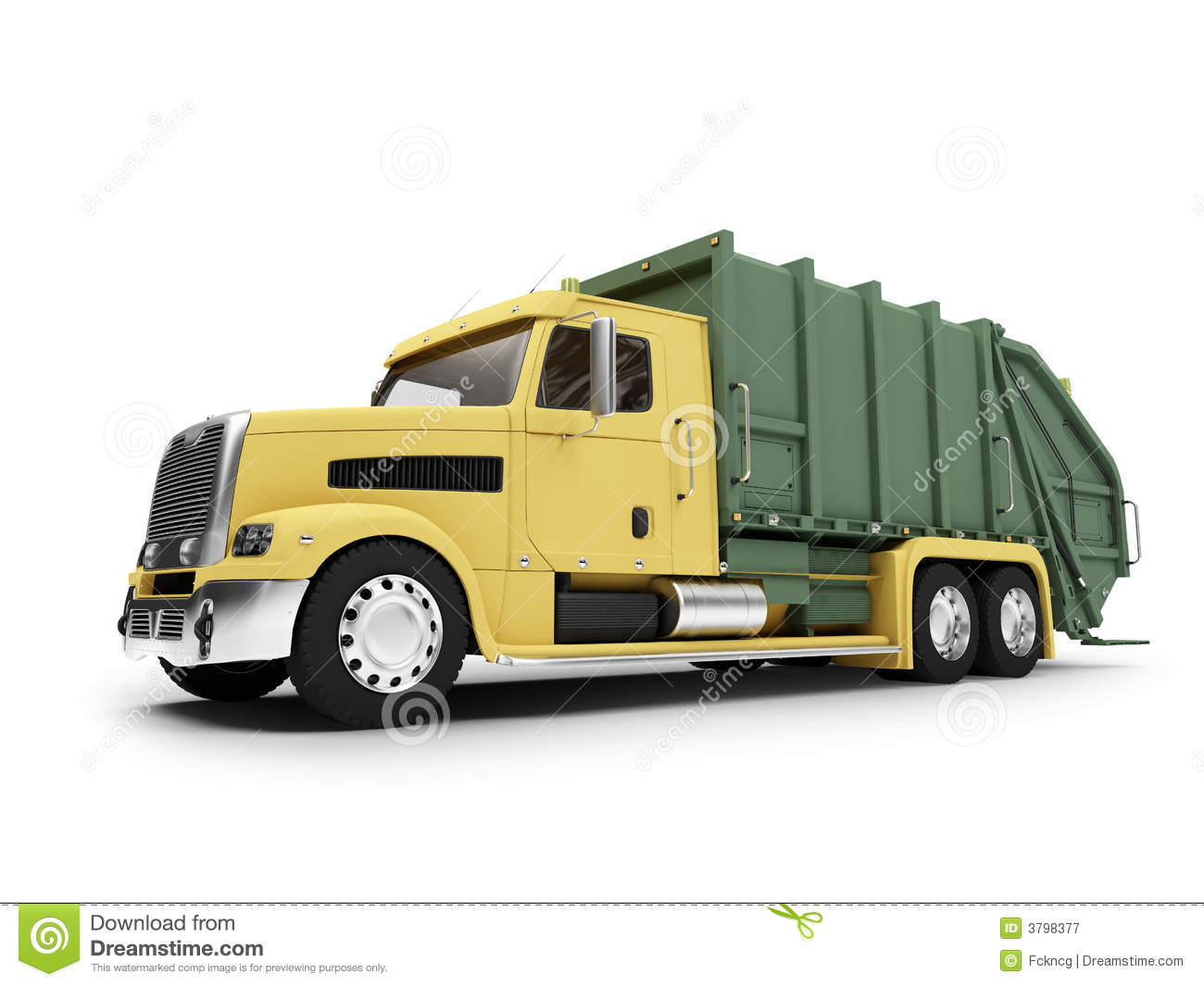 Front Wheel Drive Dump Truck : Trashcar isolated front view royalty free stock