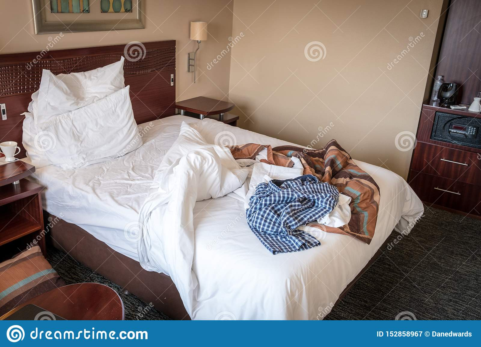 Trashed Hotel Room Bed Stock Image Image Of Clothing 152858967