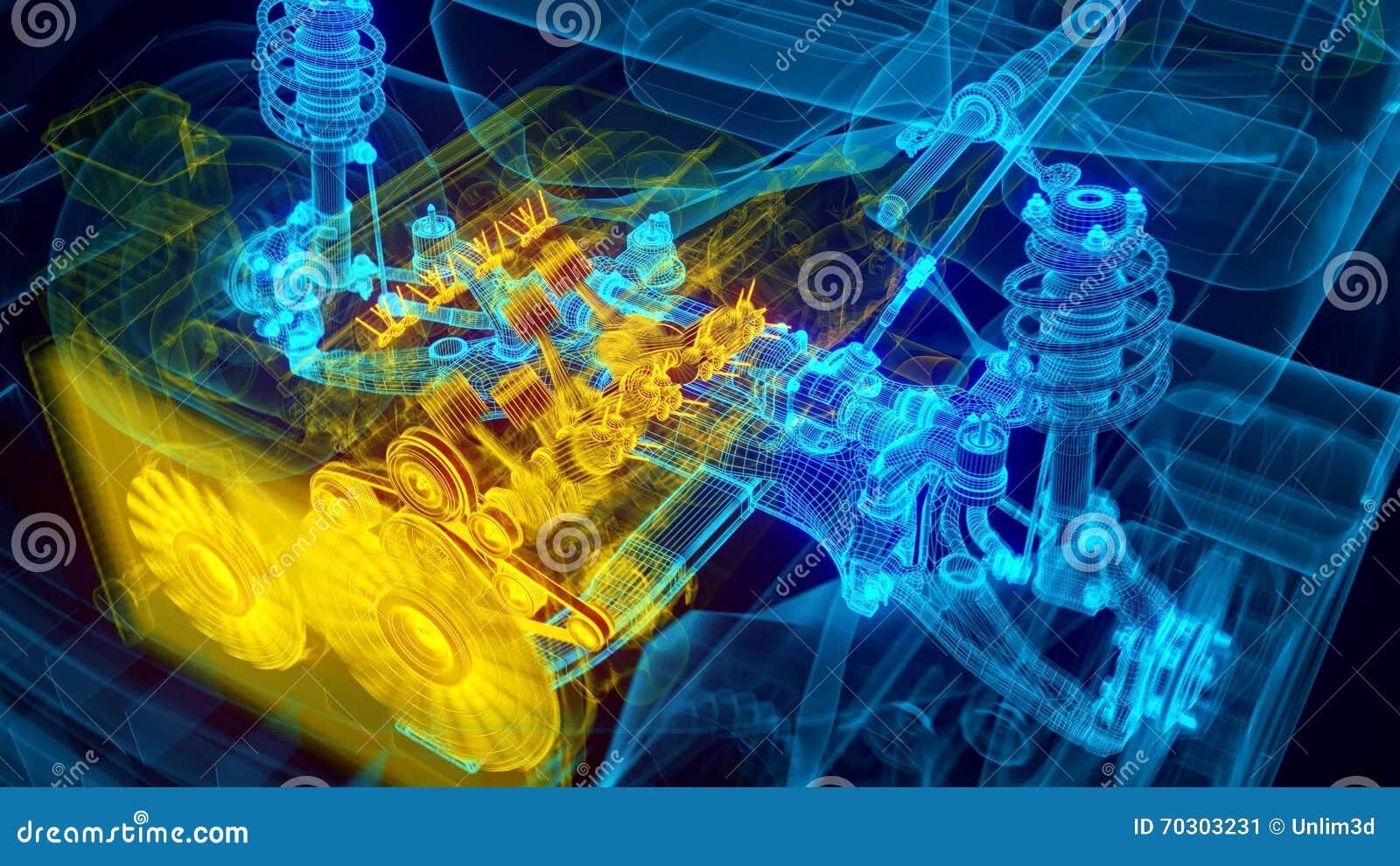Trasmissione del motore di automobile illustrazione di stock