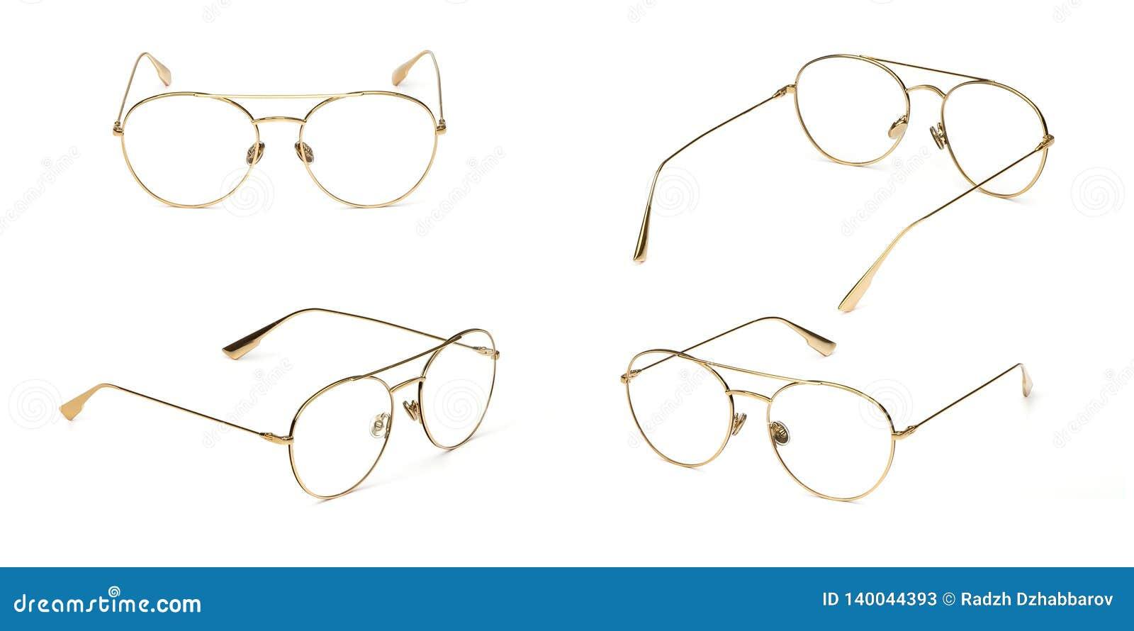 Trasparente materiale di stile di affari di vetro del metallo stabilito dell oro isolato su fondo bianco Vetri dell occhio dell u