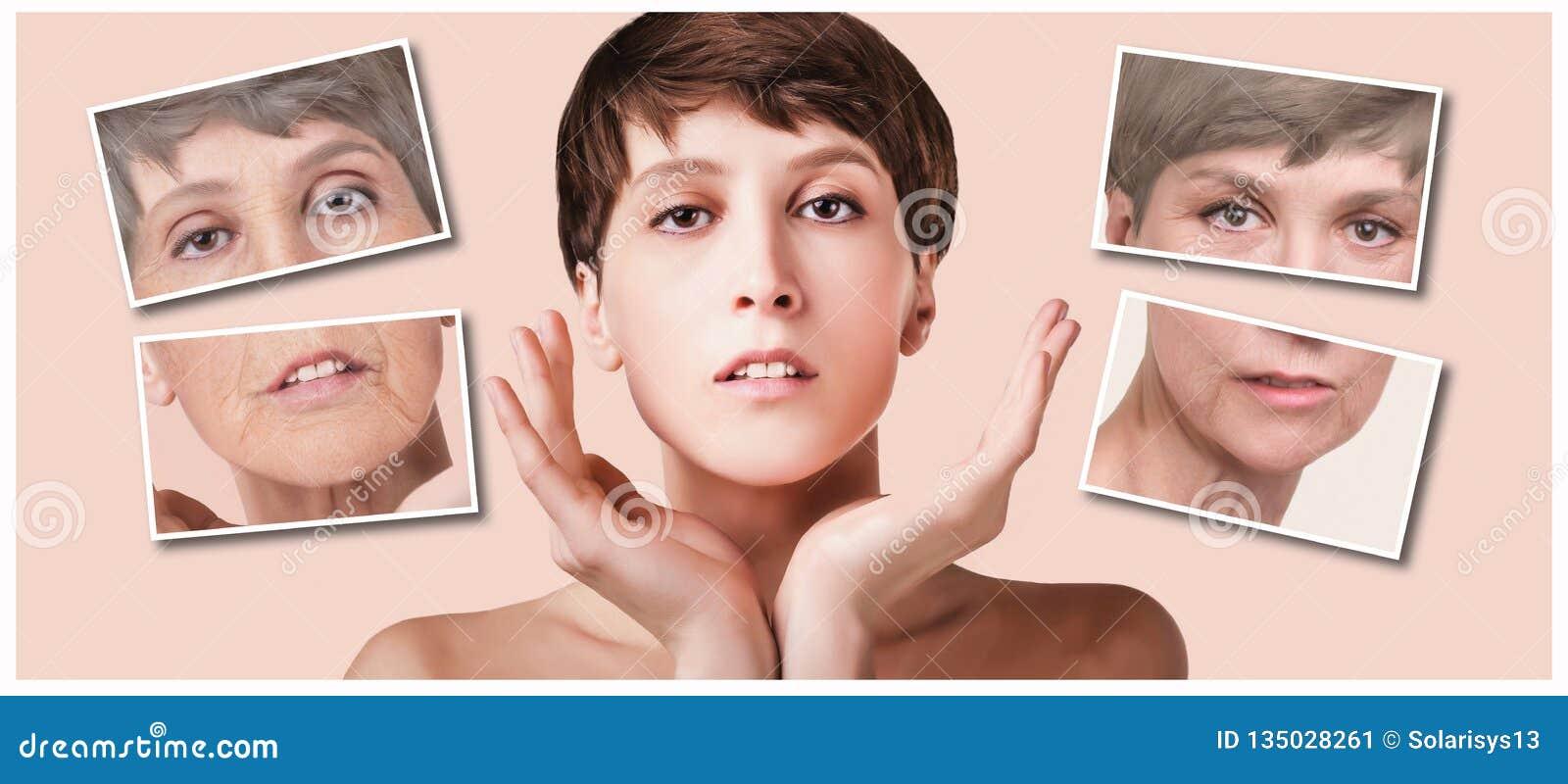 Tratamento antienvelhecimento, da beleza, envelhecimento e juventude, levantando, skincare, conceito da cirurgia plástica