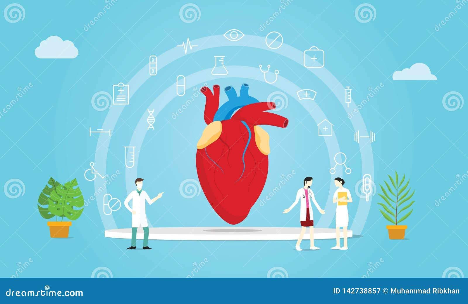 Tratamiento humano del doctor y de la enfermera del equipo de la salud del corazón con la extensión médica del icono - ejemplo de