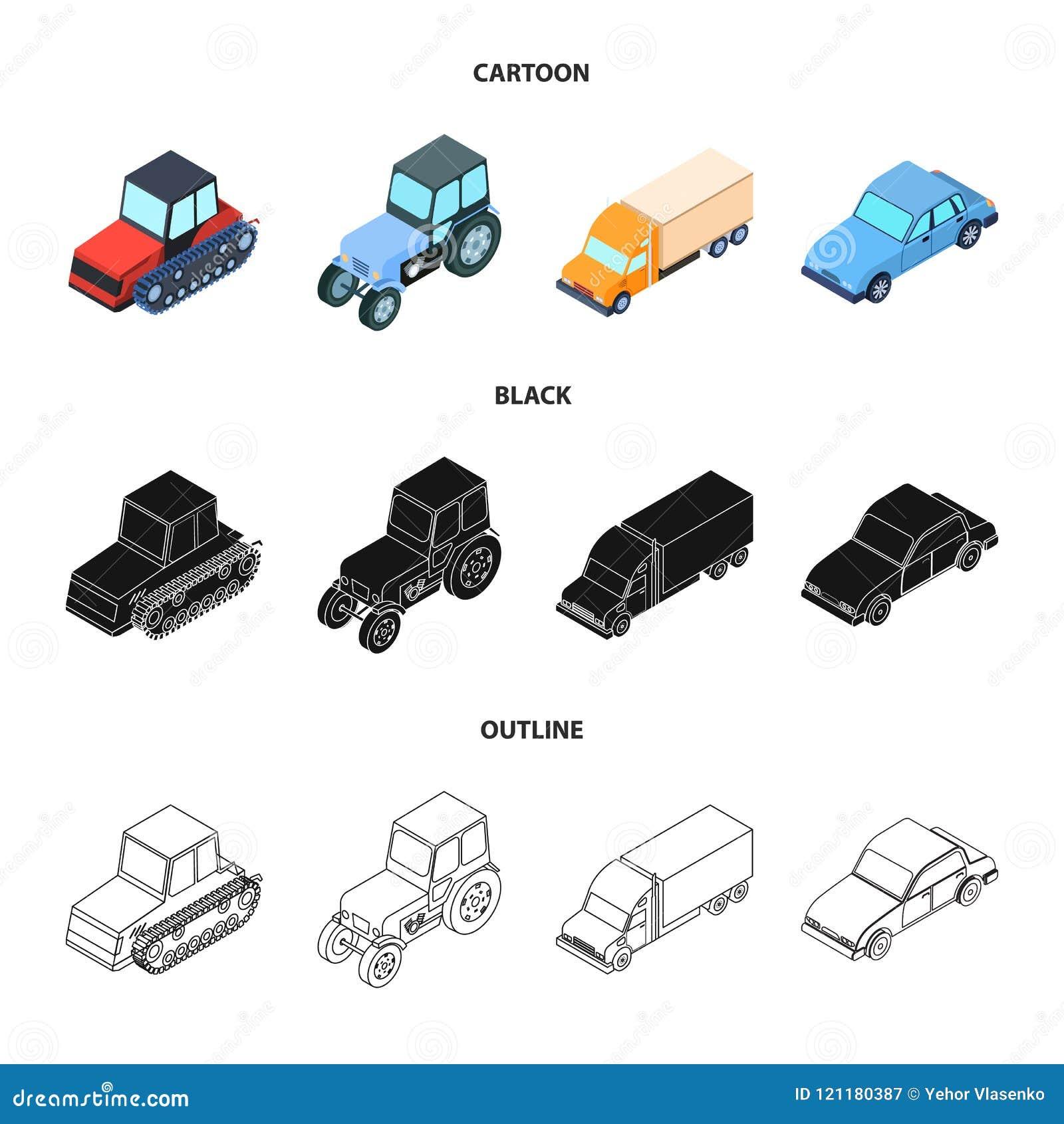 Trator, trator de lagarta, caminhão, carro Ícones ajustados da coleção do transporte nos desenhos animados, preto, símbolo do vet