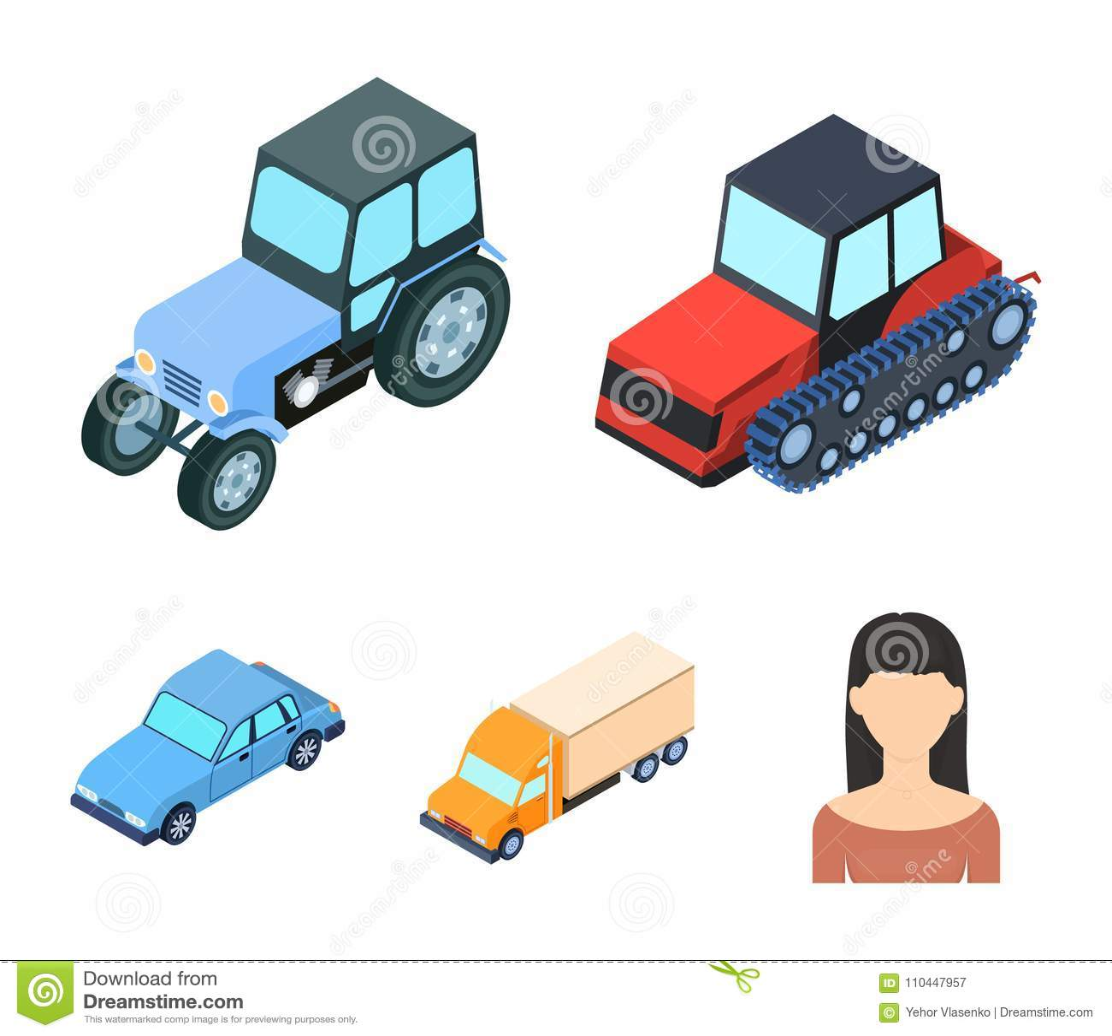 Trator, trator de lagarta, caminhão, carro Os ícones ajustados da coleção do transporte no estilo dos desenhos animados vector o