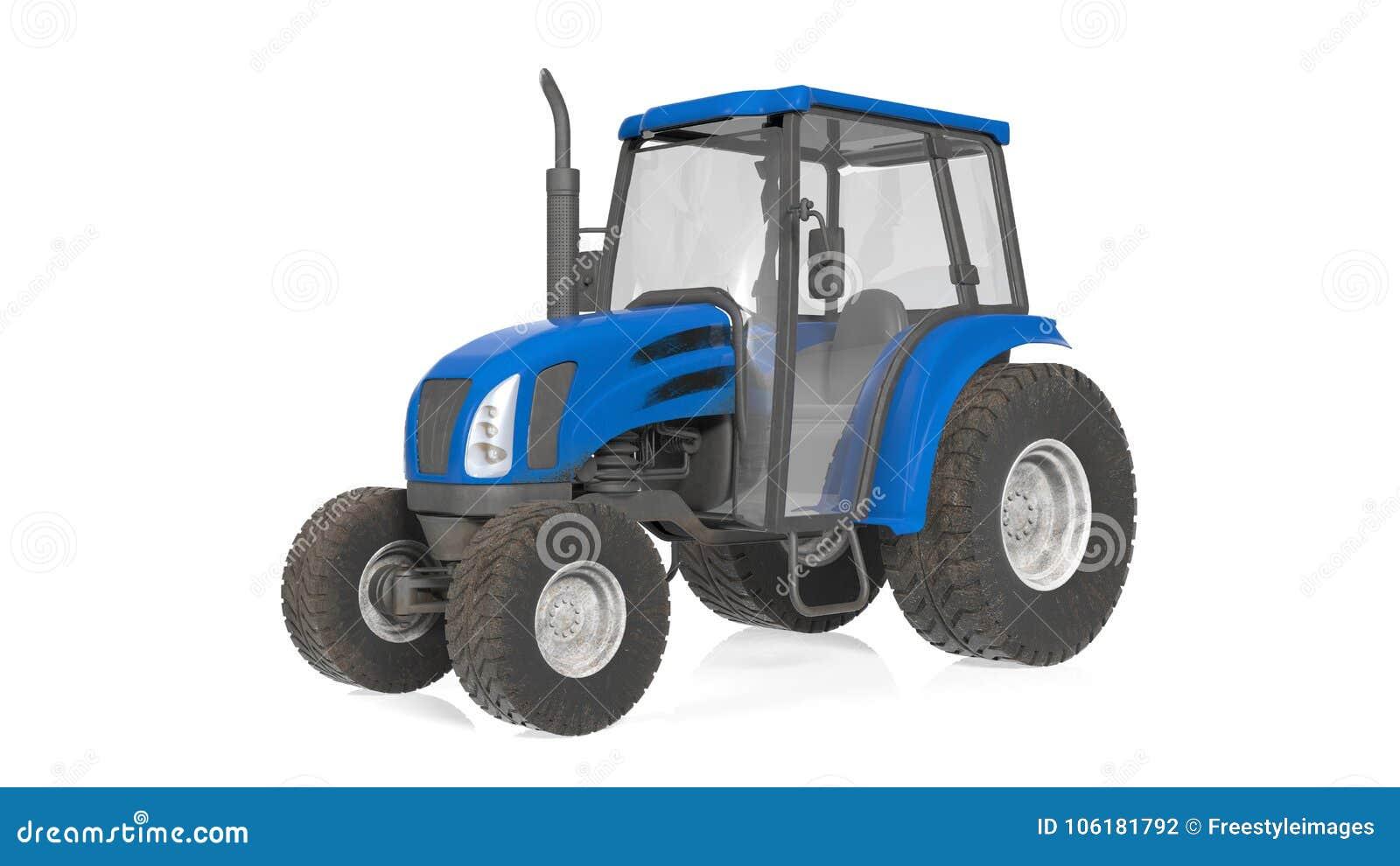 Trattore, attrezzatura agricola, veicolo isolato su bianco