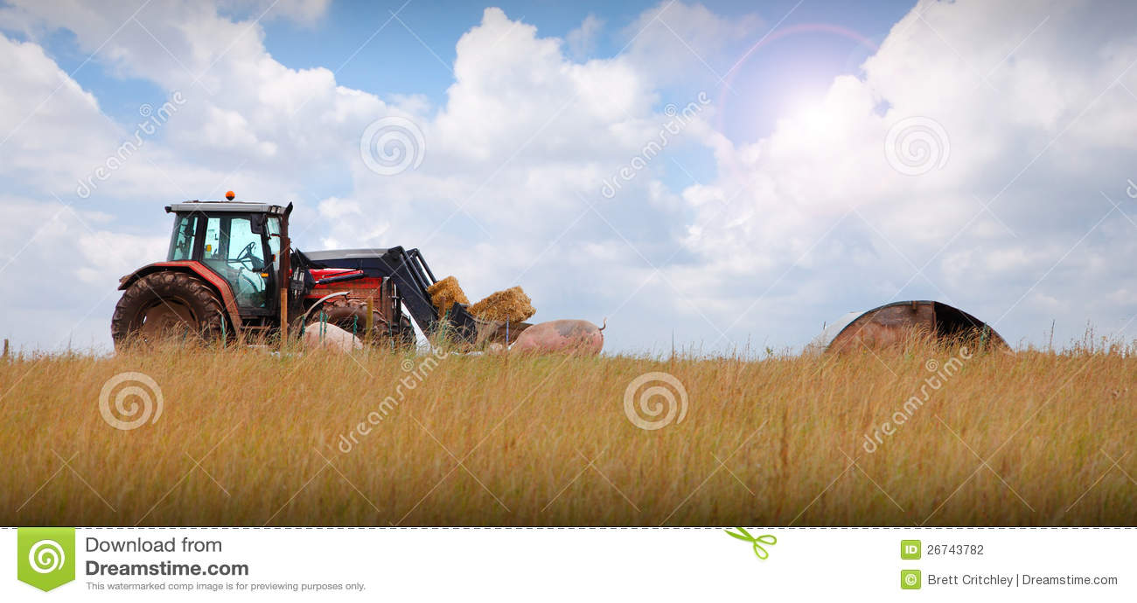 Trattore sul paesaggio dell azienda agricola