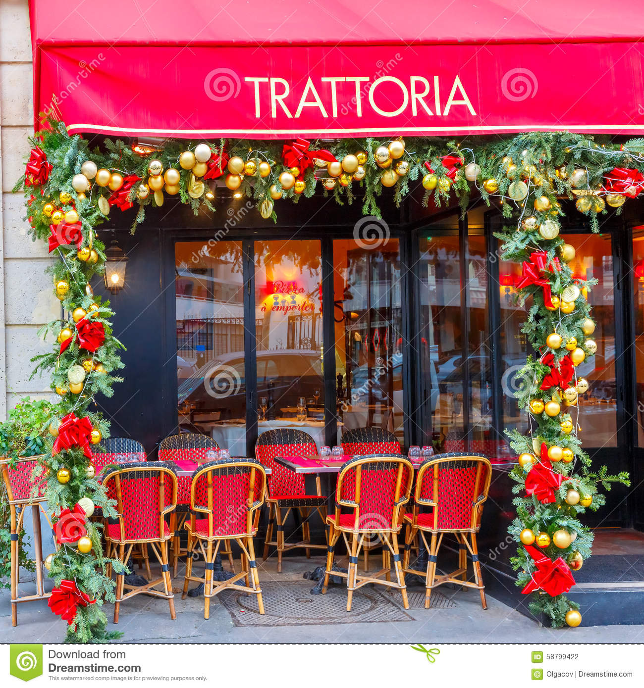 Trattoria dell angelo near eiffel tower paris editorial