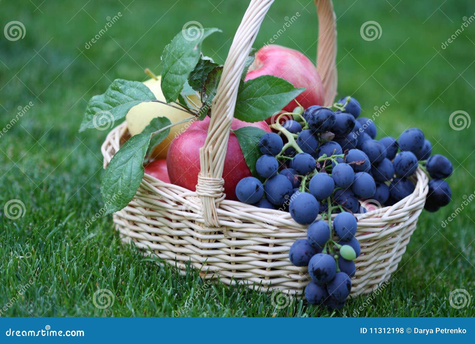 Trauben und Äpfel im Korb