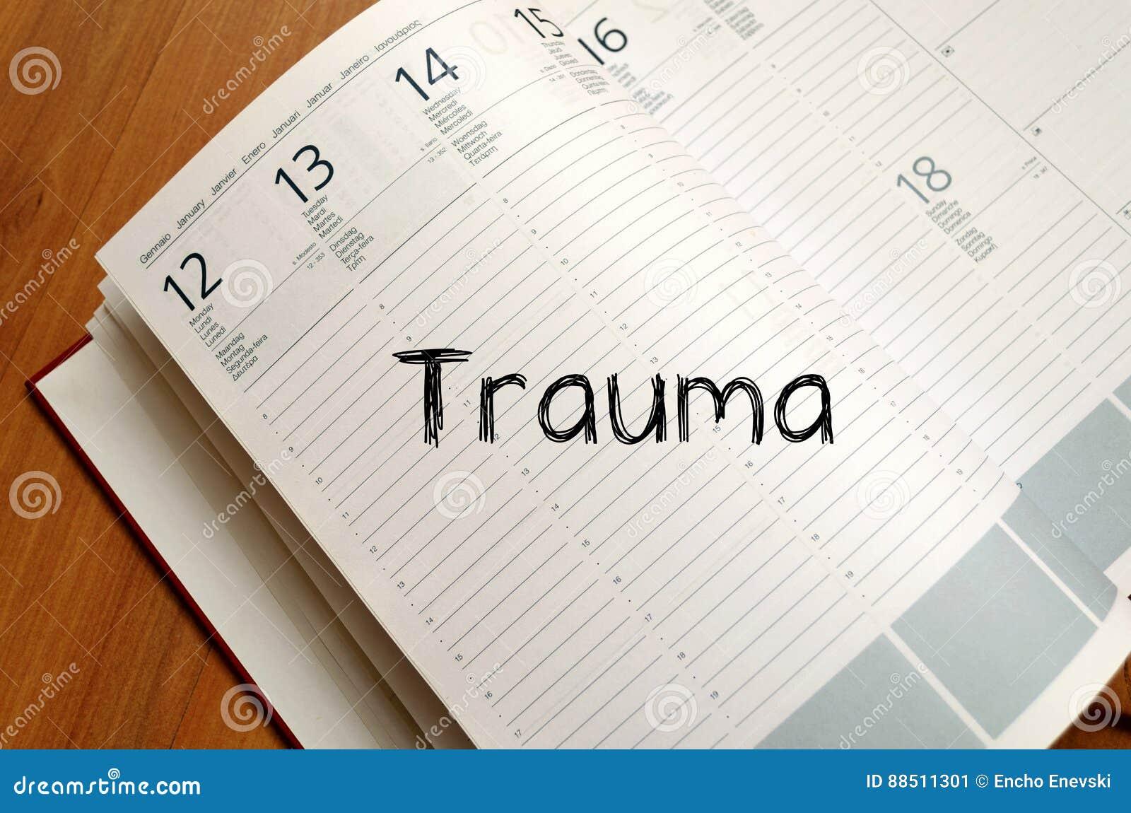 Trauma write on notebook