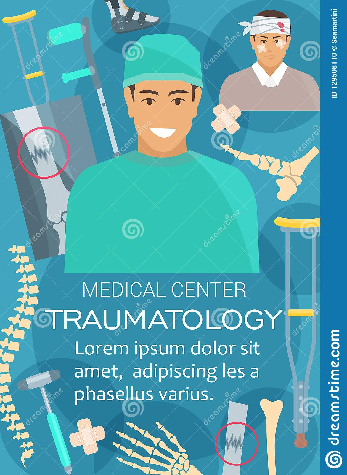 Trauma Room Design: Traumatology Medical Clinic And Doctor, Vector Stock