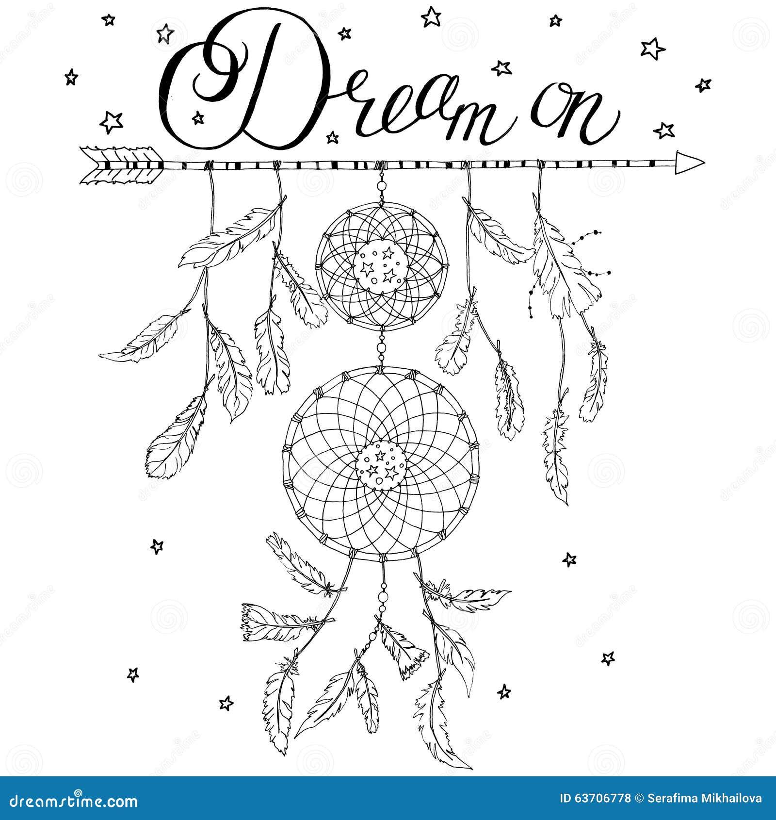 Traumfänger Auf Einem Pfeil Mit Kalligraphietext Traum An Vektor