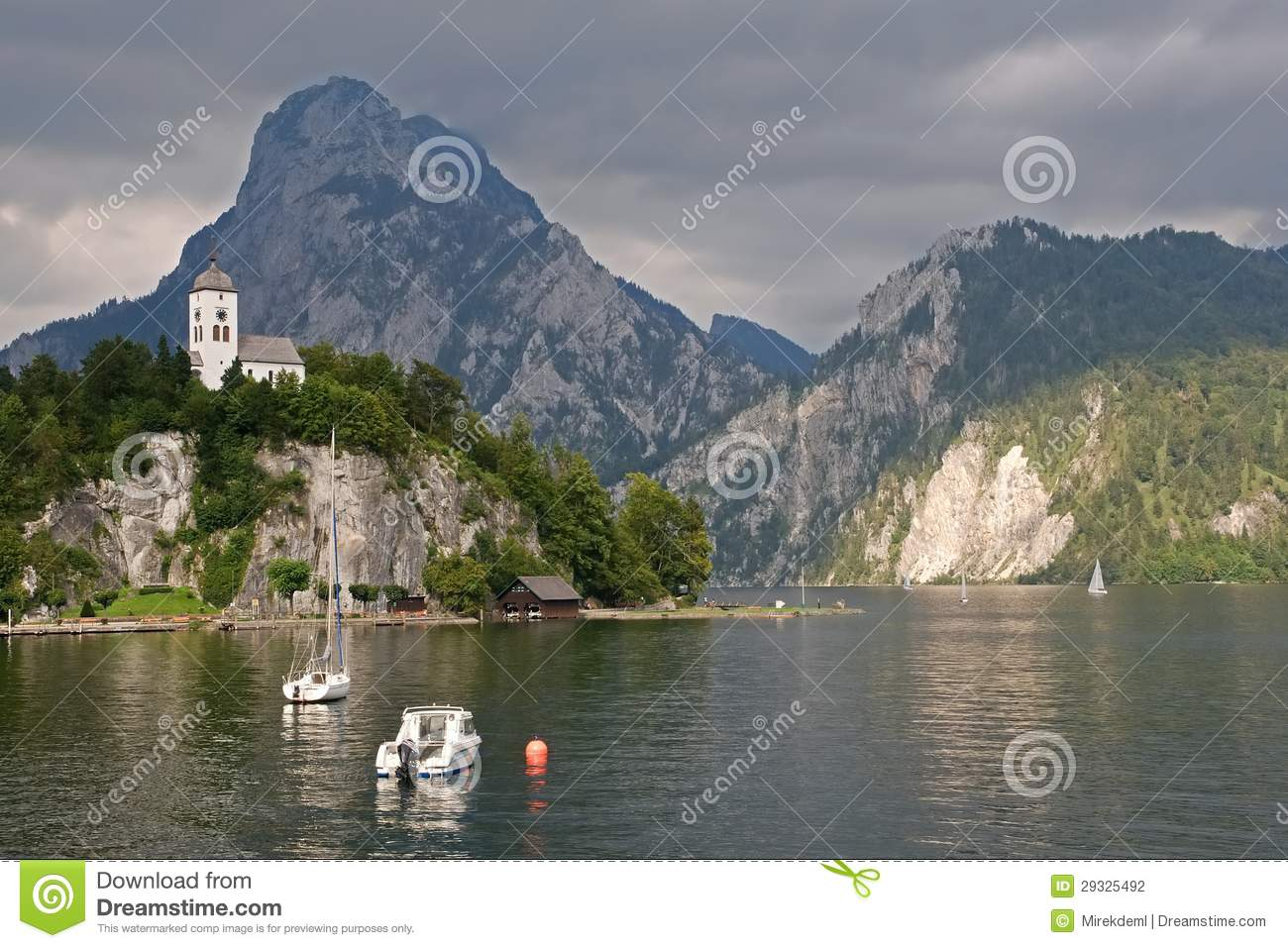 traunkirchen and traunsee austria stock photo image. Black Bedroom Furniture Sets. Home Design Ideas
