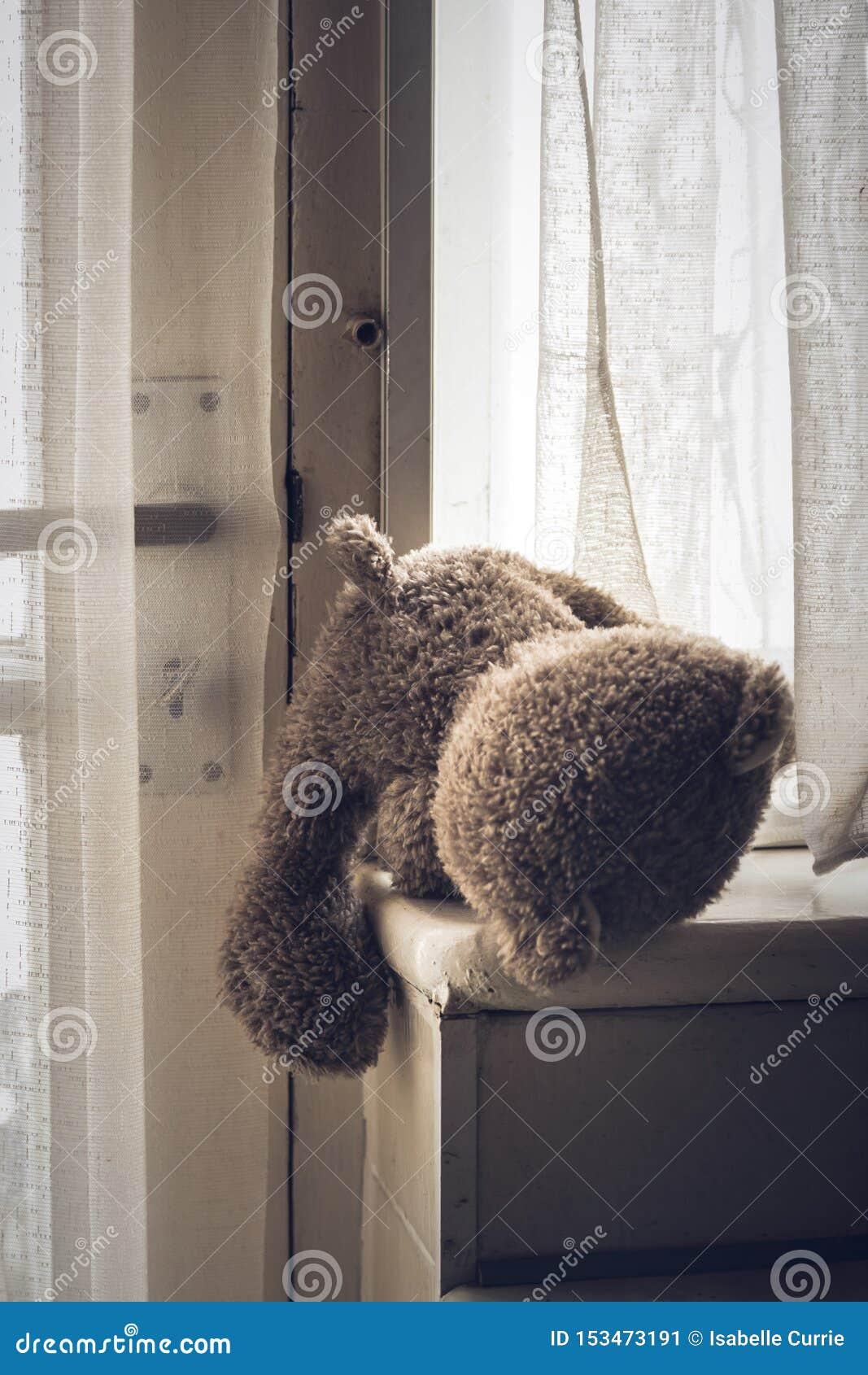Trauriger Teddybär zurückgelassen