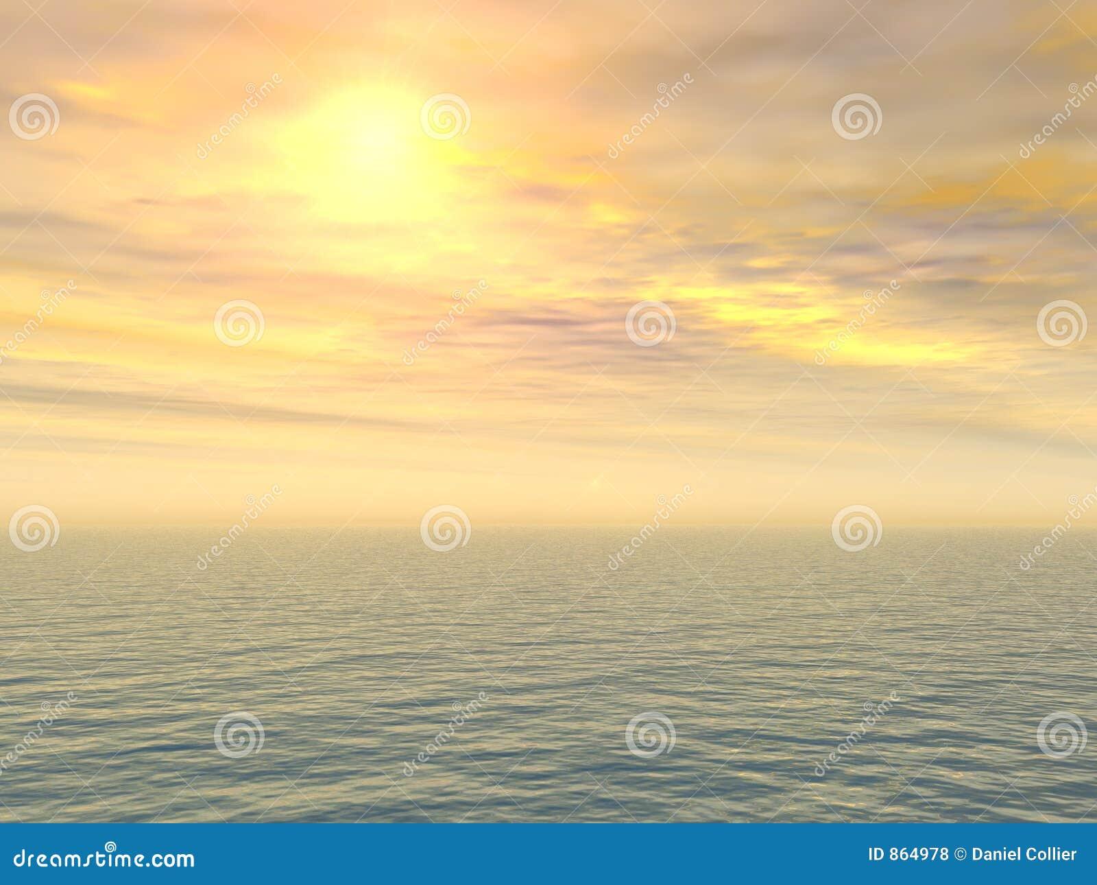 Trauriger Zitrone-Sonnenuntergang über Meer