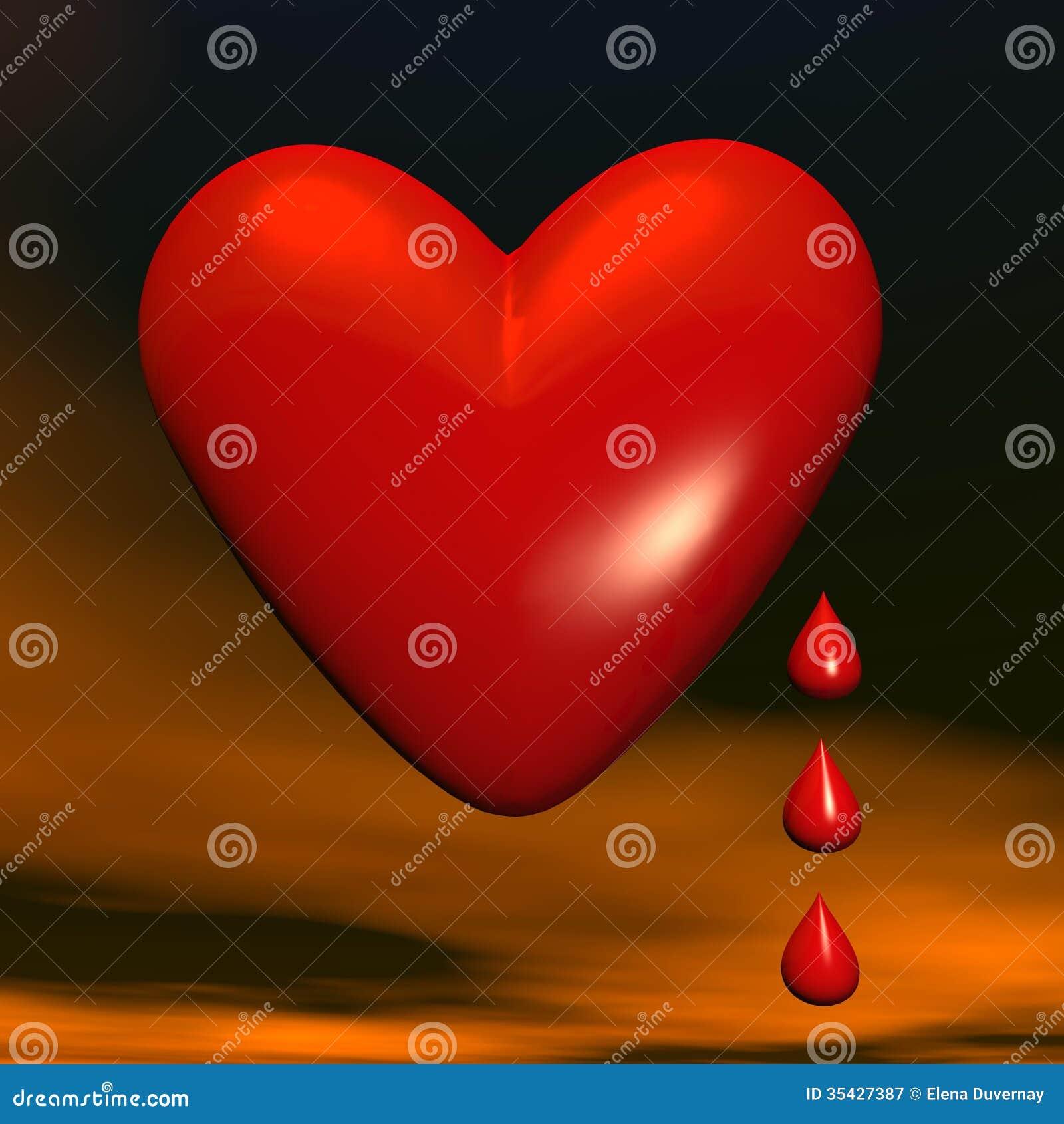 Trauriges Herz Oder Geben Blut - 11D übertragen Stock Abbildung ...