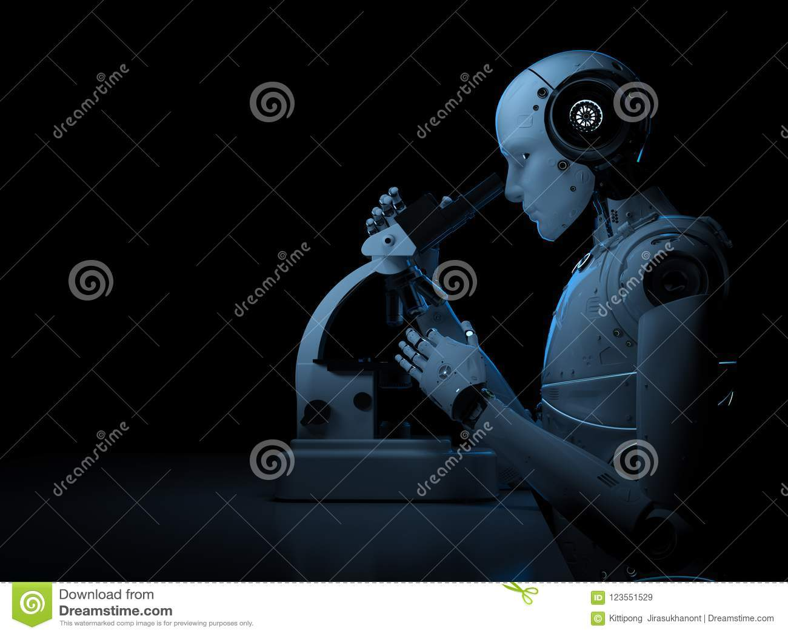 Travail de robot sur le microscope