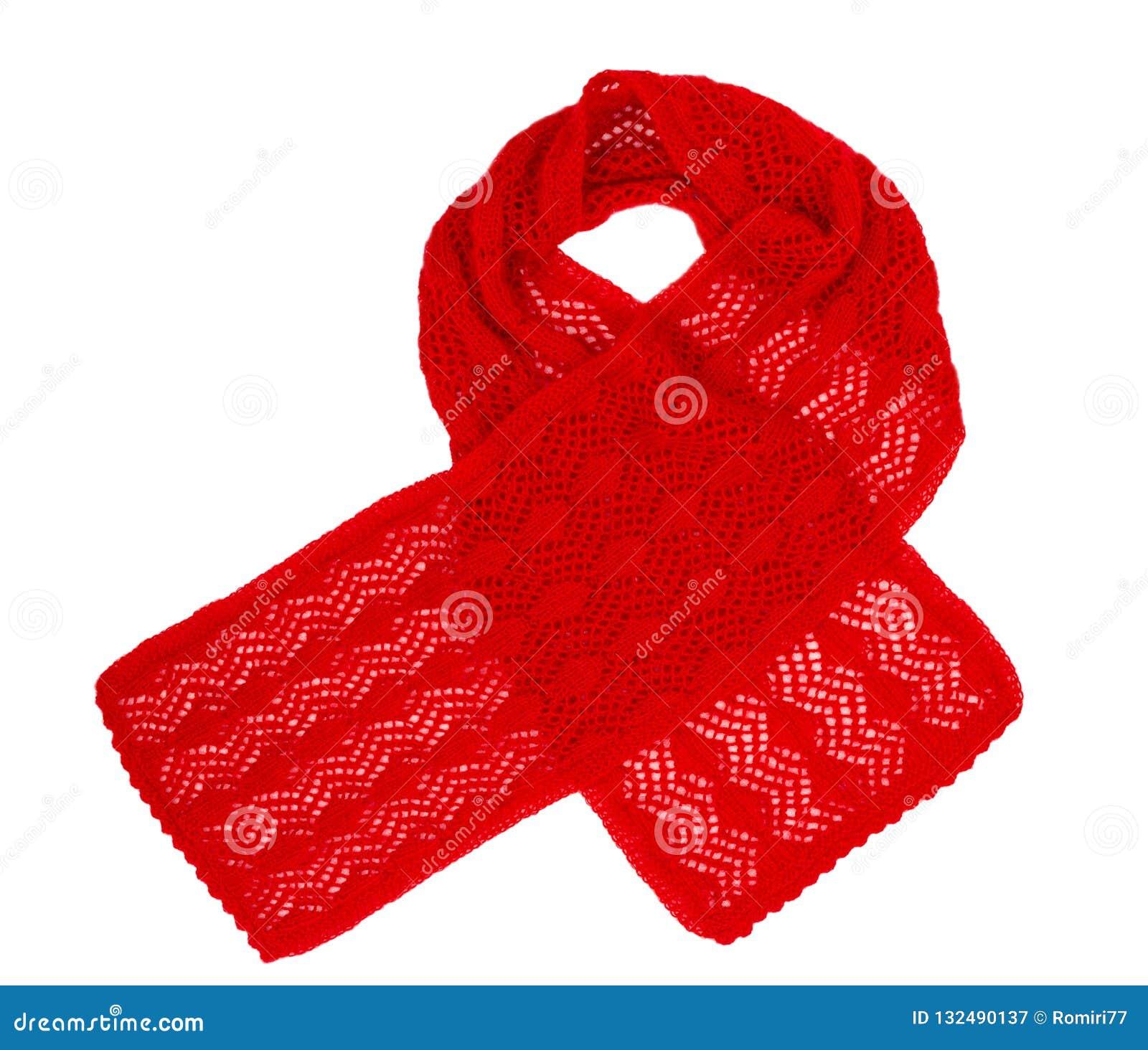 Travail manuel tricoté par écharpe Écharpe de laine rouge