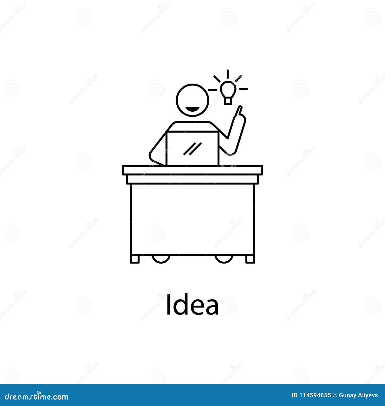 Travailleur avec l icône d idée Personnes d élément sur le lieu de travail pour les apps mobiles de concept et de Web Ligne mince