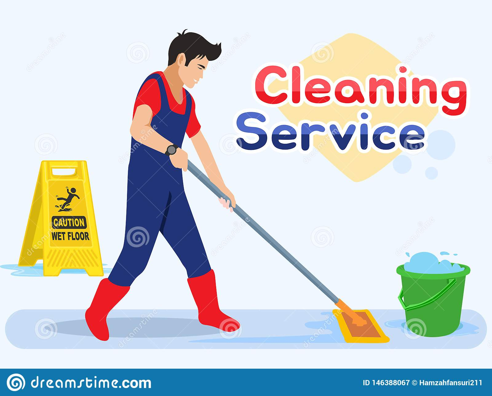 Travailleur d homme essuyant le plancher Service m?le de nettoyage Illustration de vecteur dans un style plat