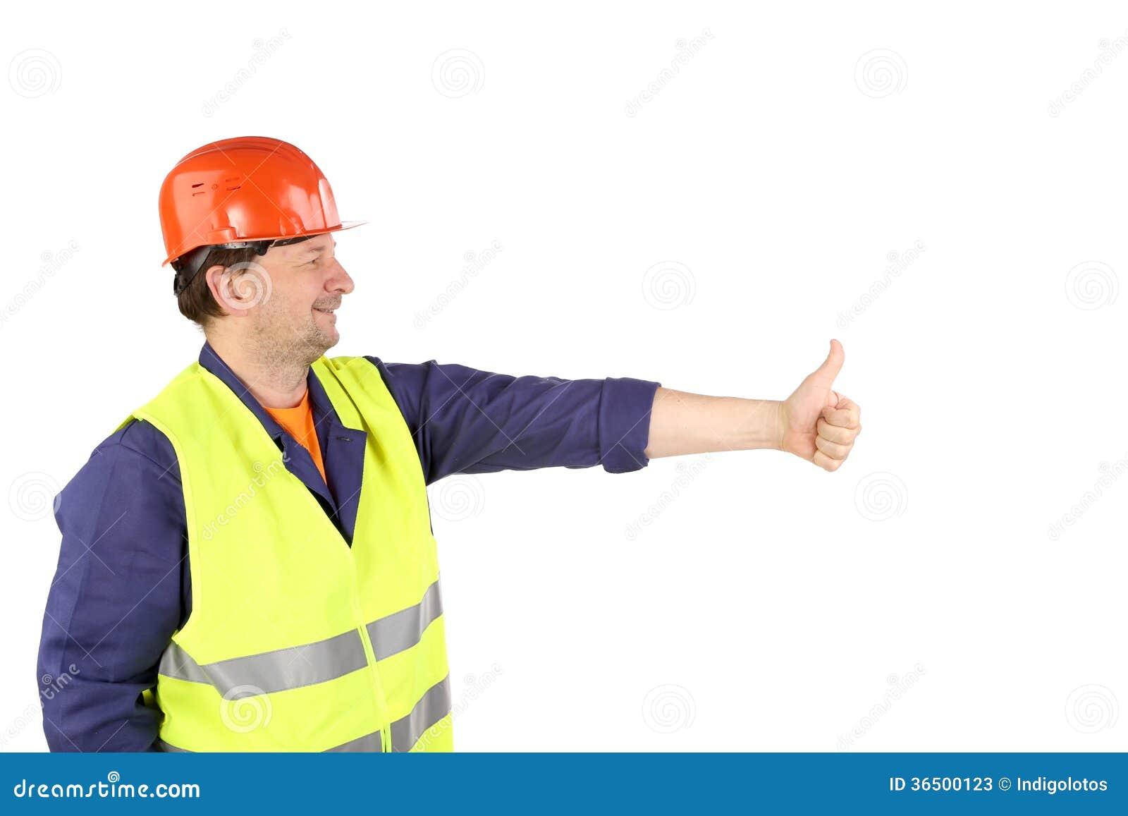 Travailleur dans le casque antichoc avec la main.