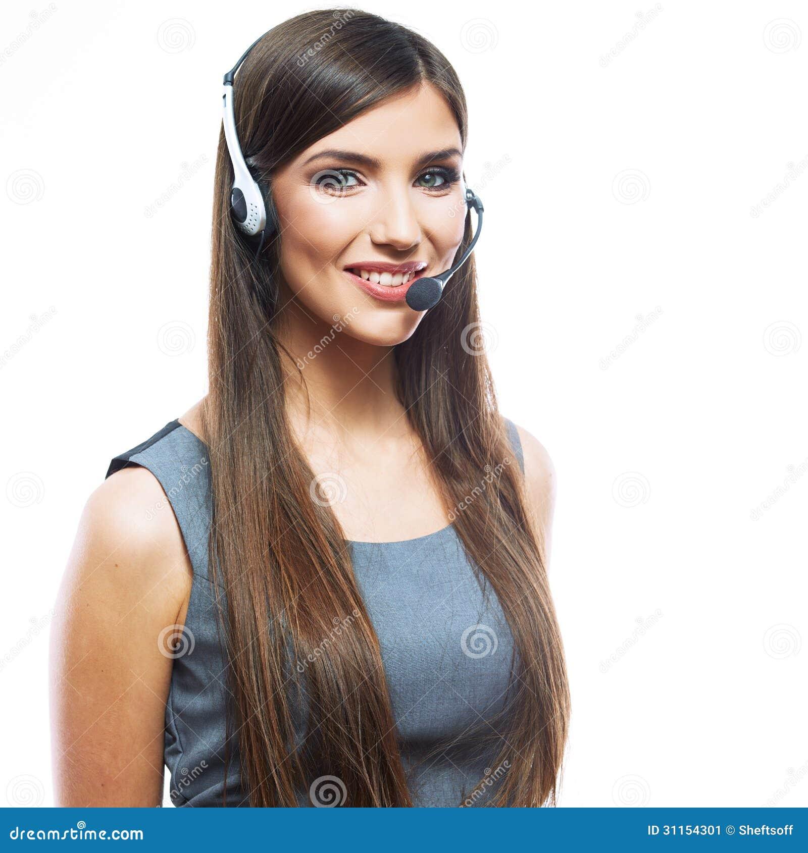 Travailleur de service client de femme, opérateur de sourire de centre d appels