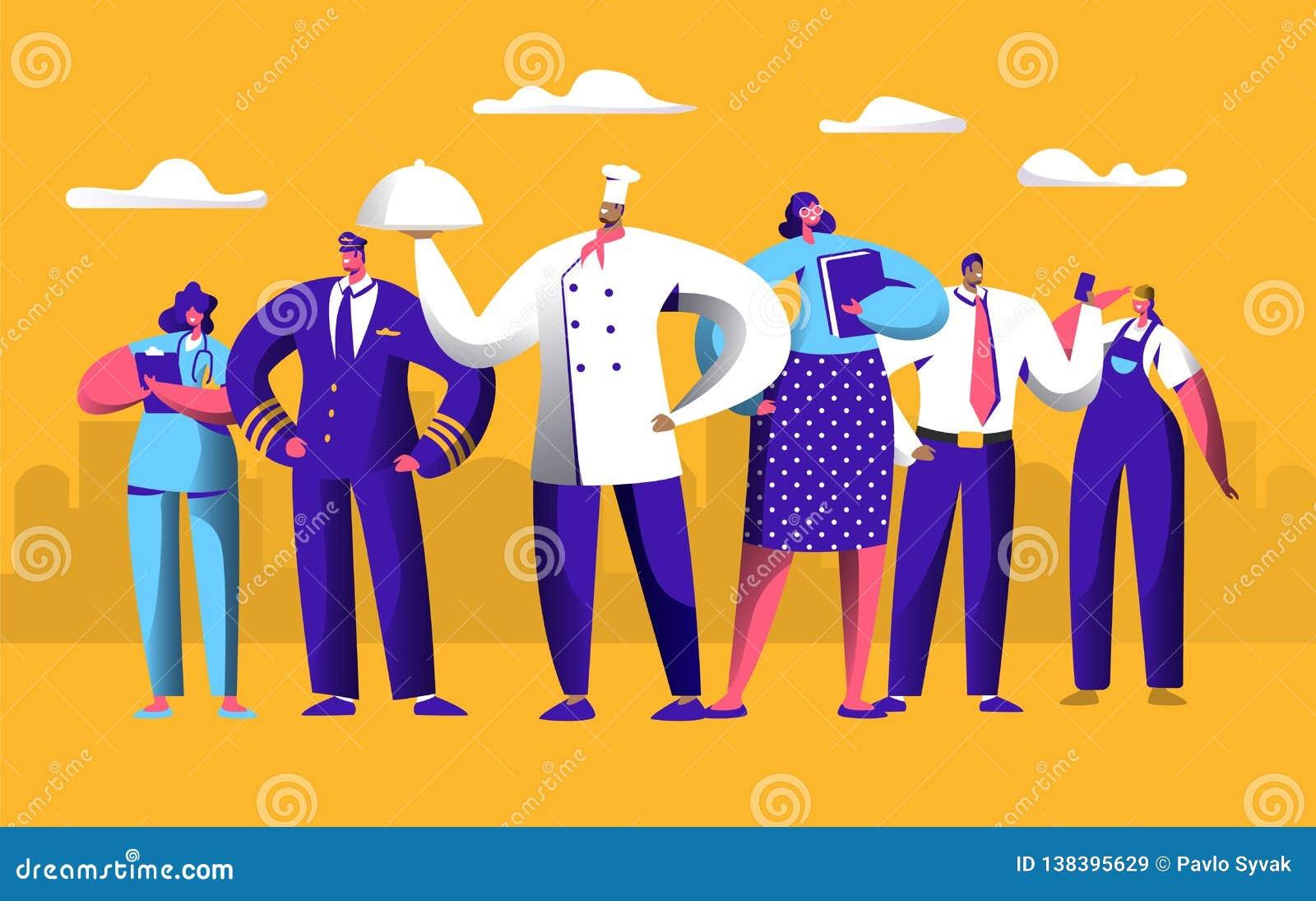 Travailleur différent du travail réglé pour la bannière de vacances de Fête du travail Les gens groupent le travail dans l unifor