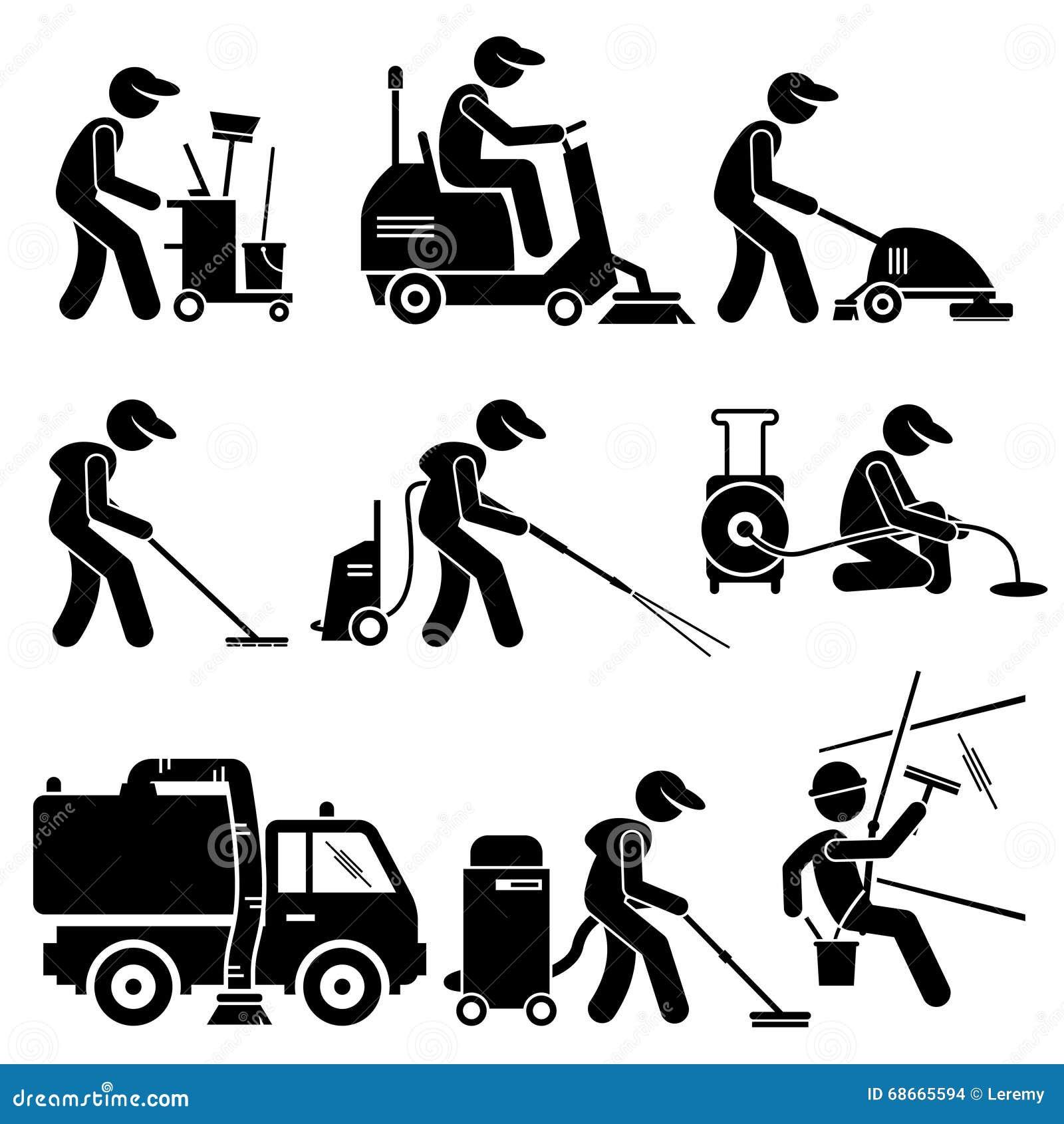 Travailleur Industriel De Nettoyage Avec Les Outils Et L