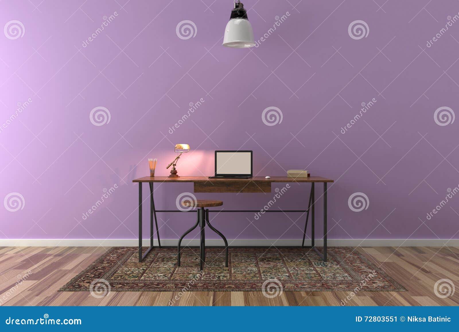 Travaillez le bureau dans la chambre vide avec le grand mur à l
