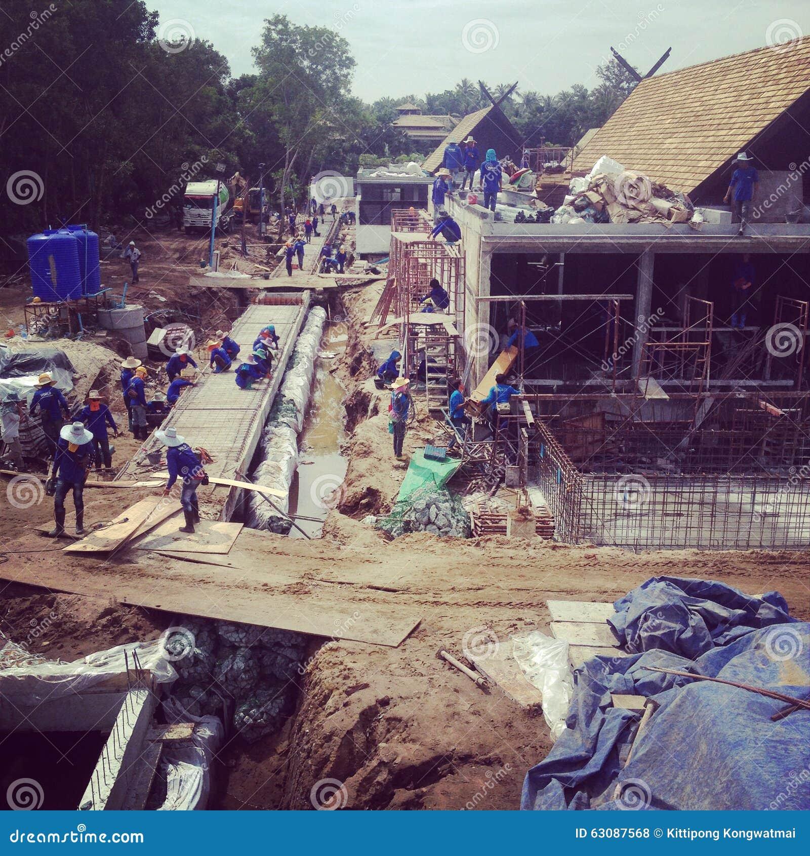 Download Travaux de construction photo stock. Image du temps, équipe - 63087568