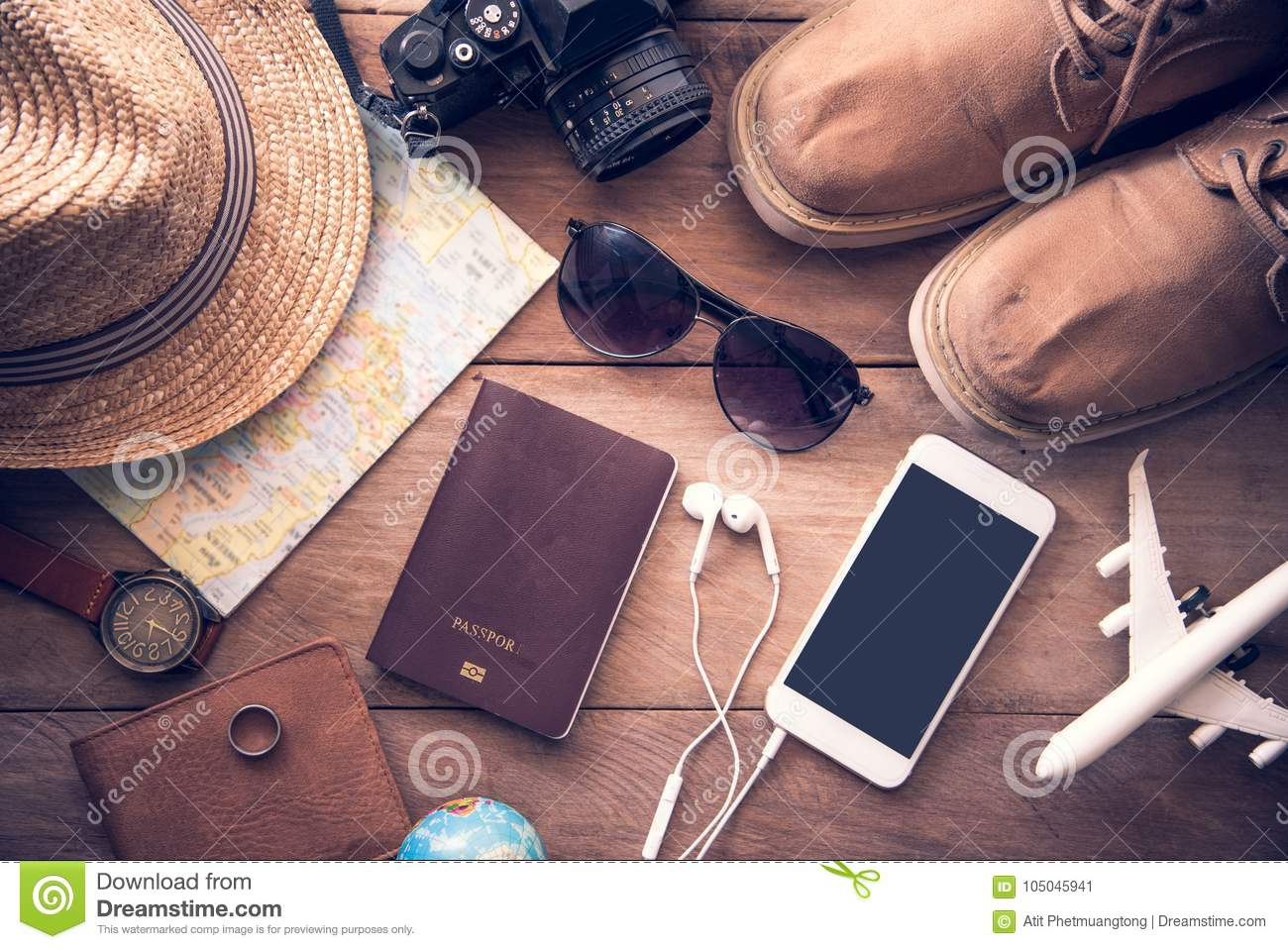 Travel Accessories Costumes For Men Passports Luggage The Cos Stock Image Image Of Clothes Retro 105045941