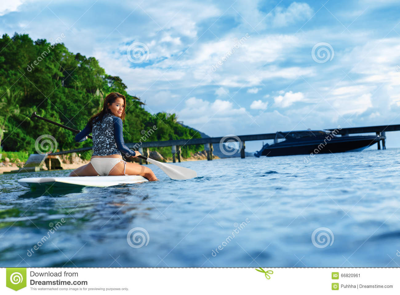 Travel Adventure. Woman Paddling On Surfing Board. Stock ...
