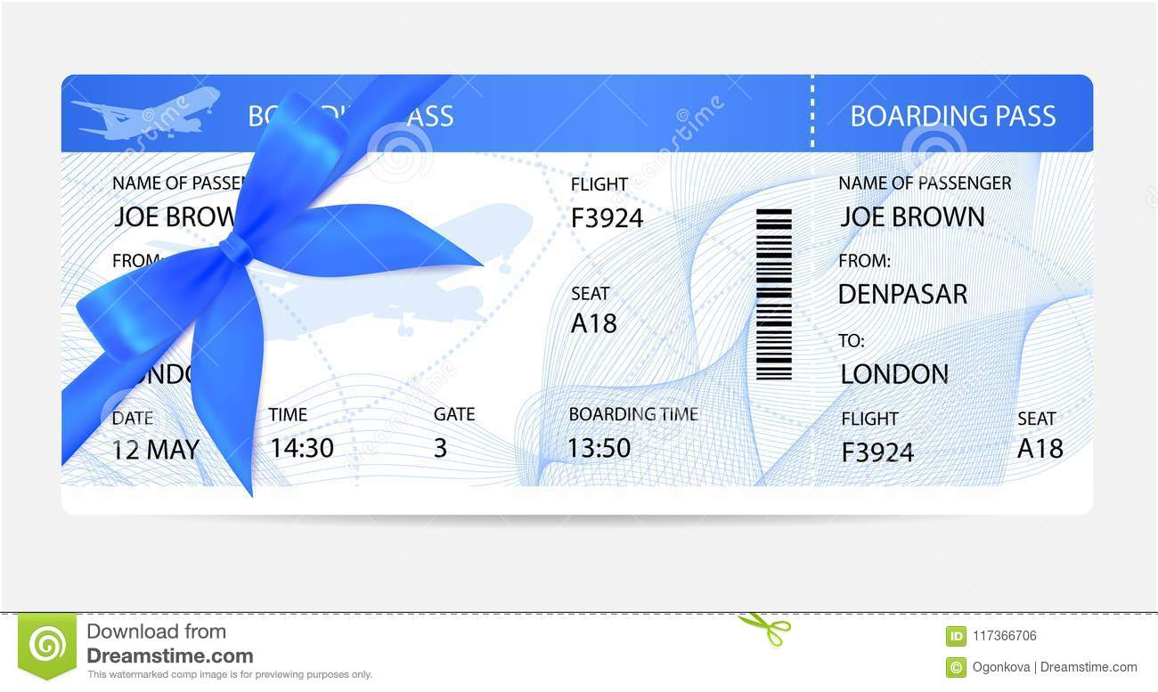 boarding pass ticket traveler check template with gift bow