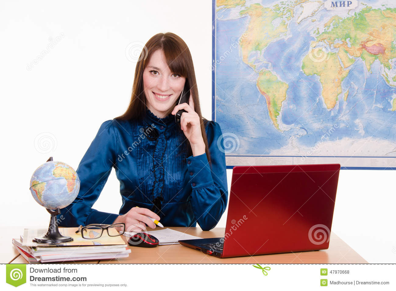 travel agency employee is talking to a customer on the phone royalty free stock photos - Agency Manager