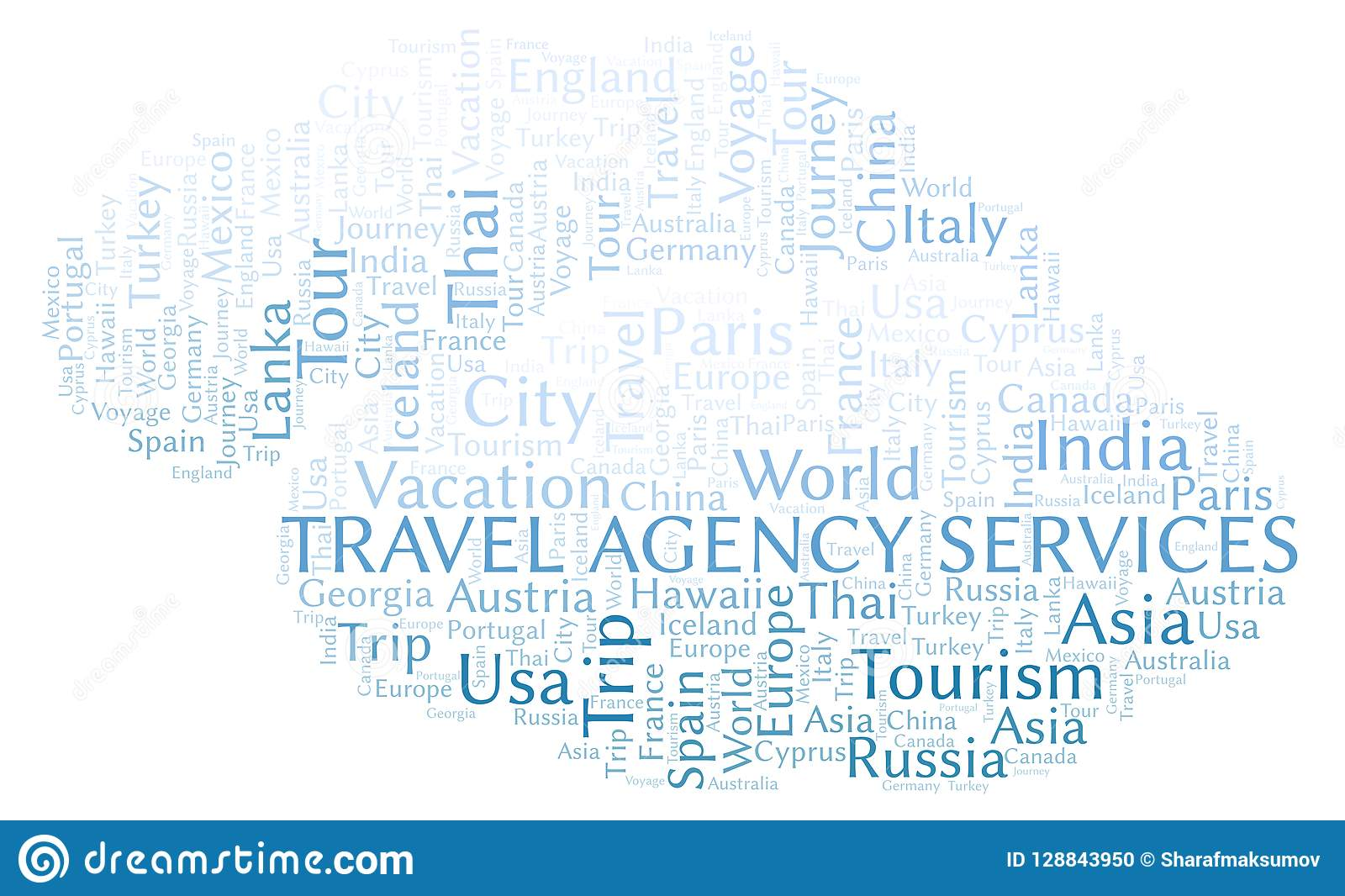 Travel Agency Services Word Cloud  Stock Illustration