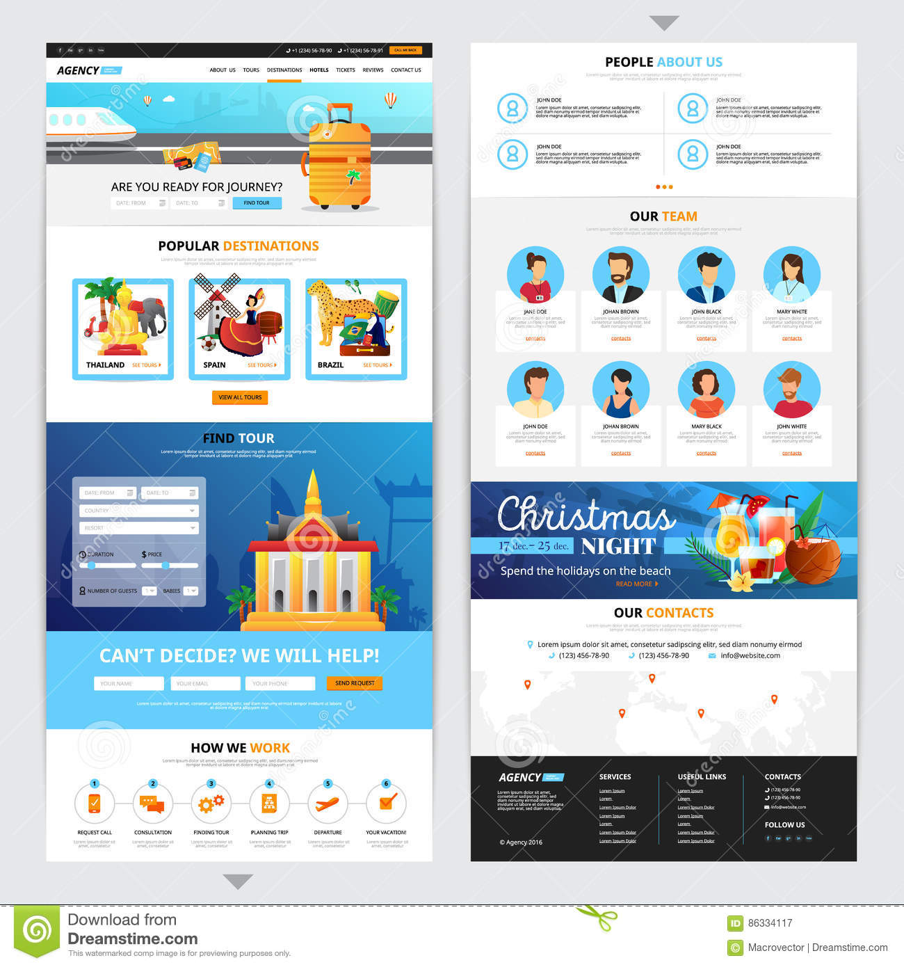 Travel Agency Web Page Design Stock Vector - Illustration of