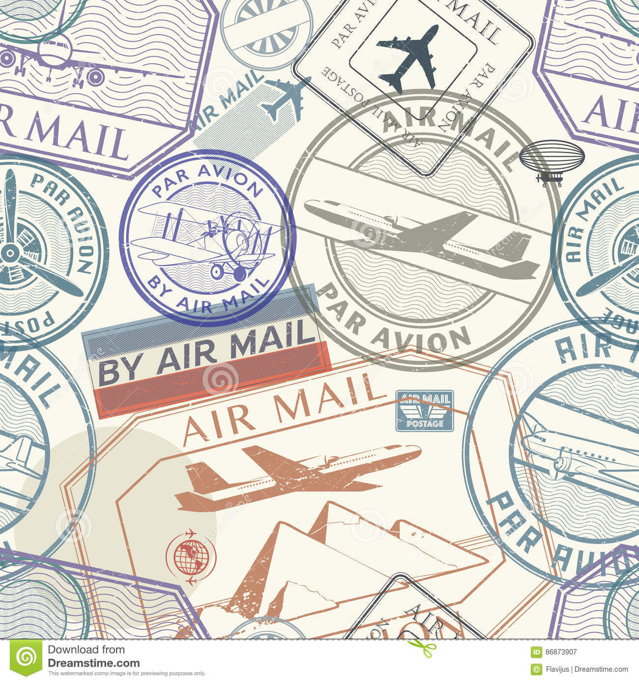 Travel or air mail grunge rubber stamps set, seamless pattern