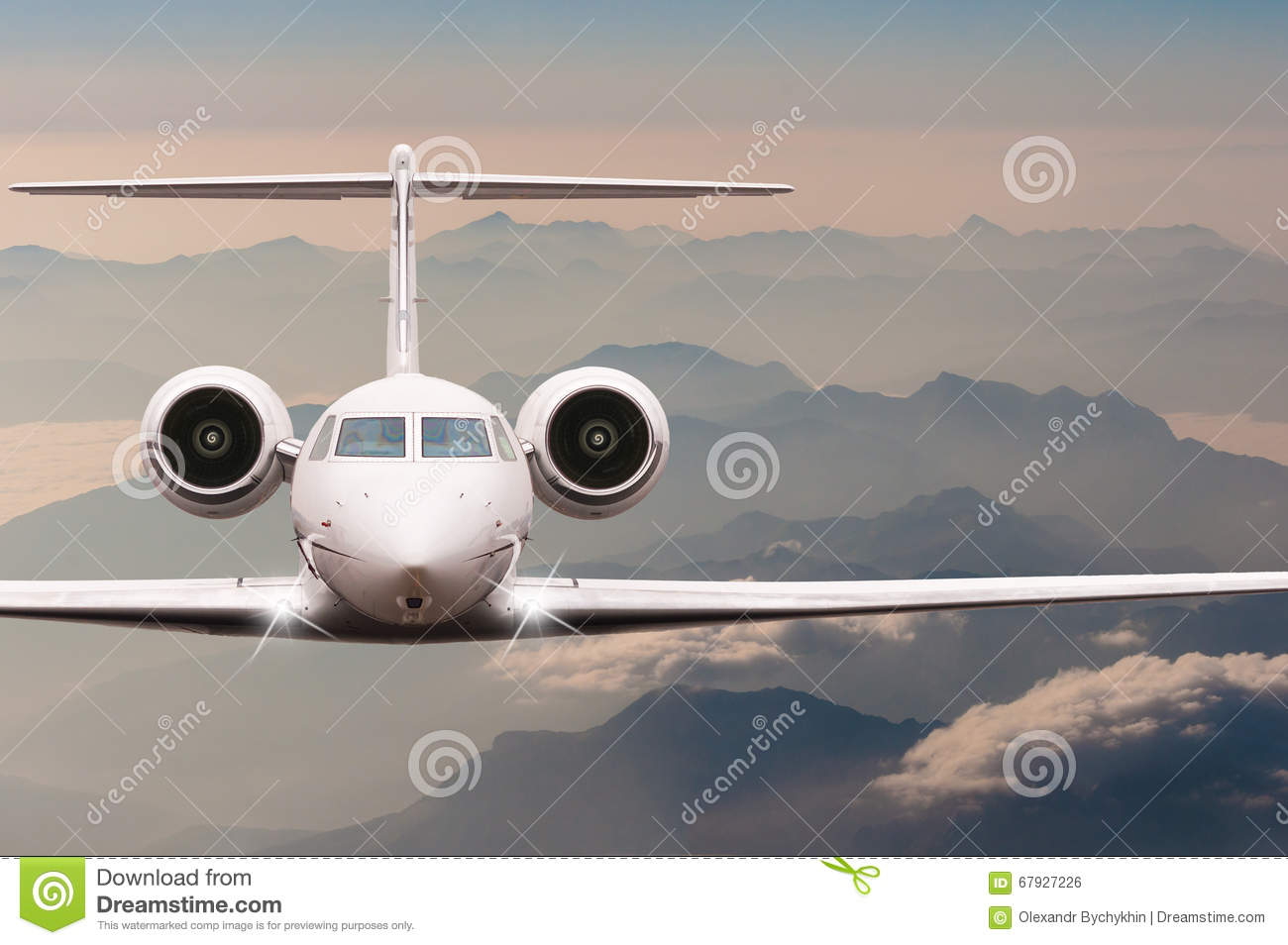 Travel by aircraft. Airplane fly over clouds and Alps mountain on down. Front view of a big passenger or cargo plane