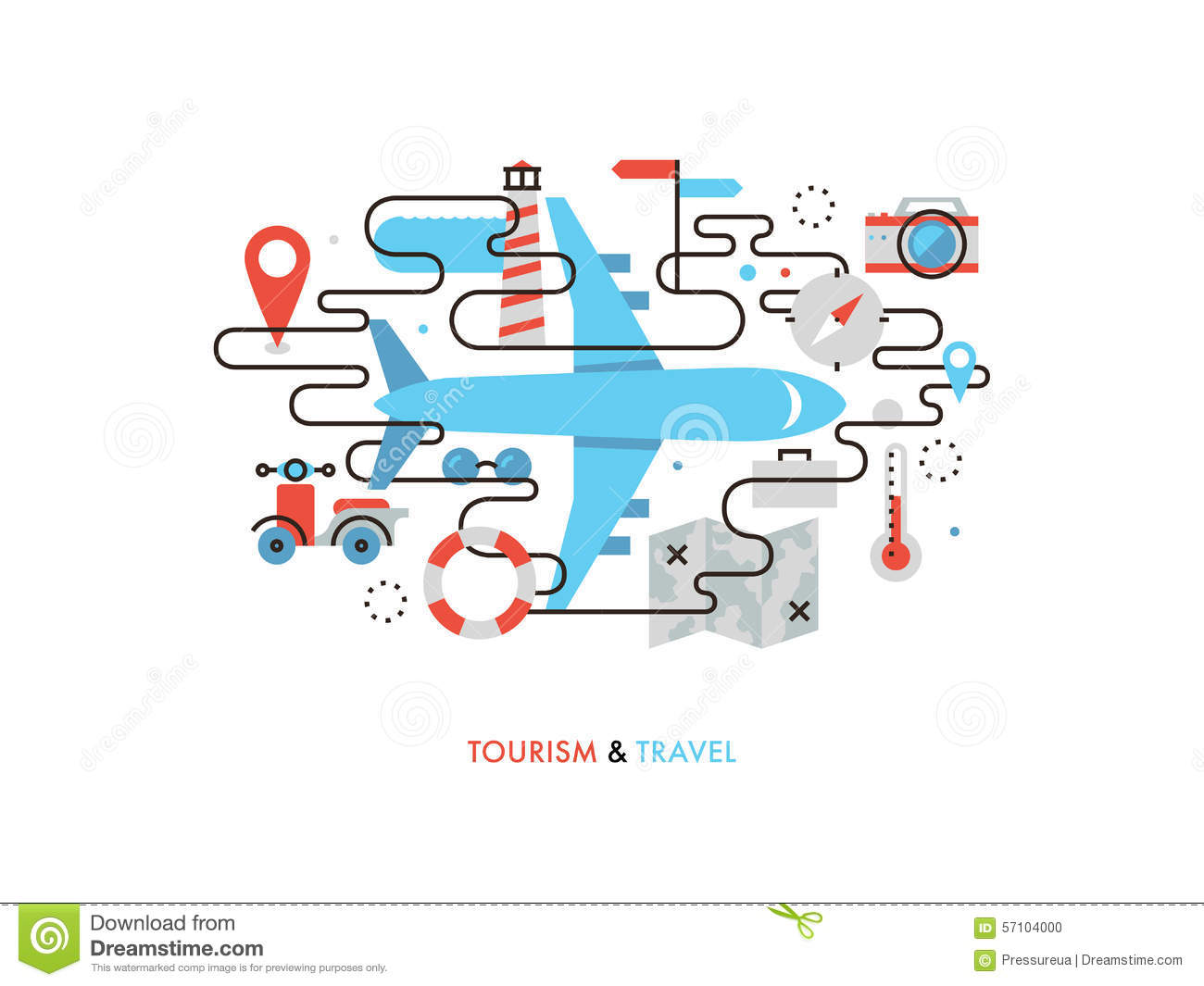 Travel by airplane flat line illustration