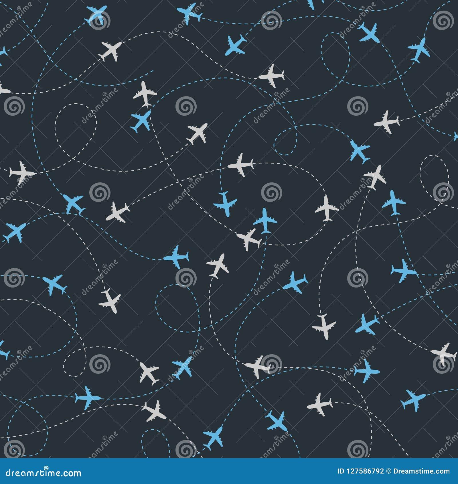 Travel around the world airplane routes seamless pattern
