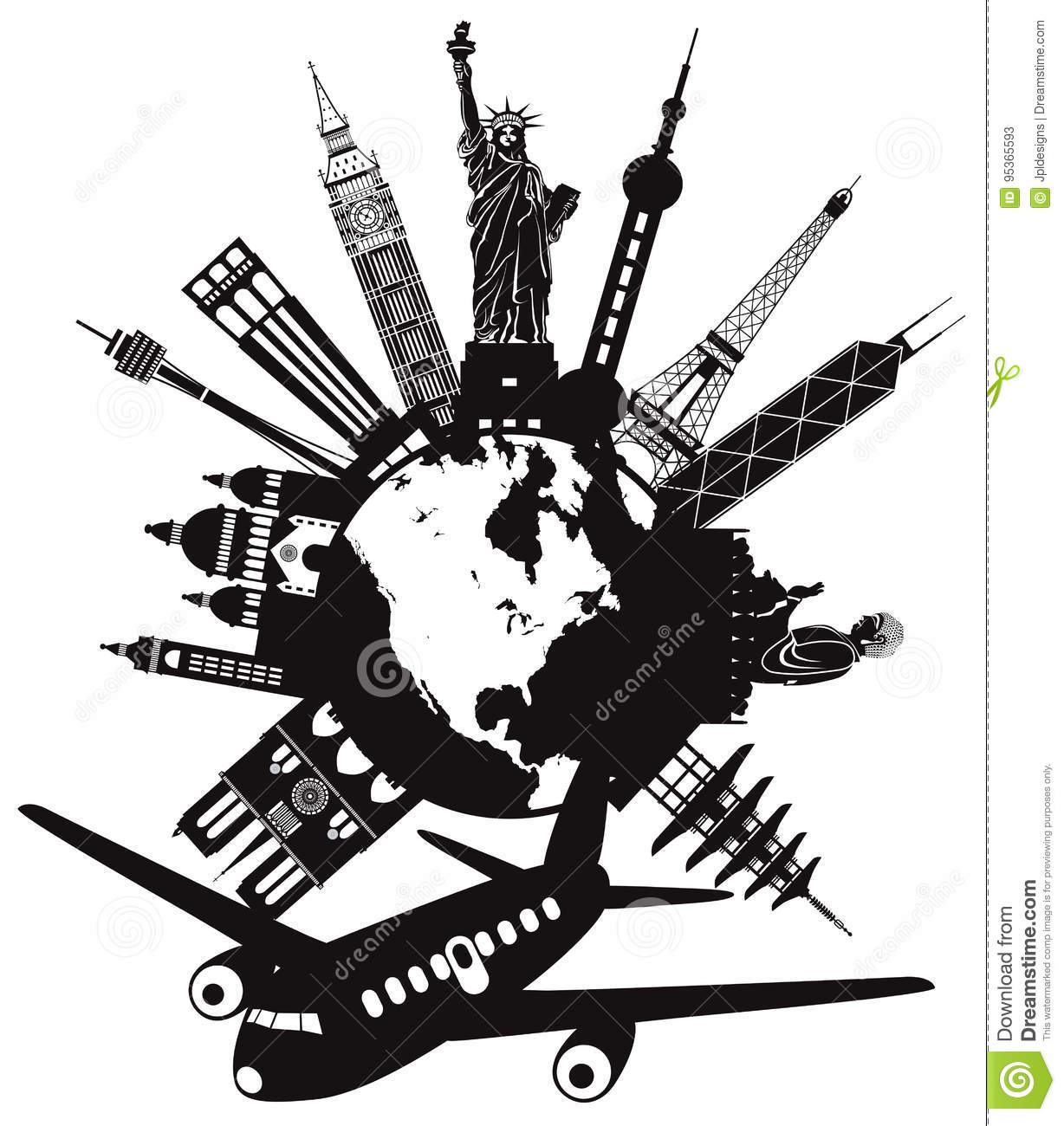 Travel Around The World By Airplane Vector Illustration Editorial