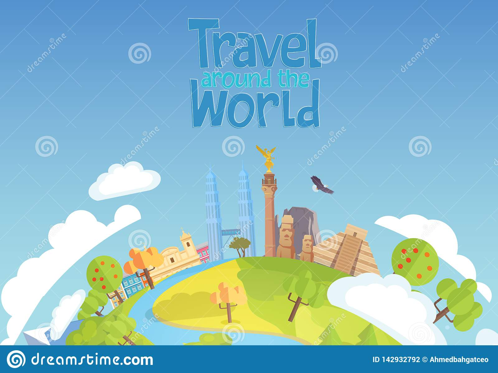 Travel around the world concept blue background Mexico Singapore