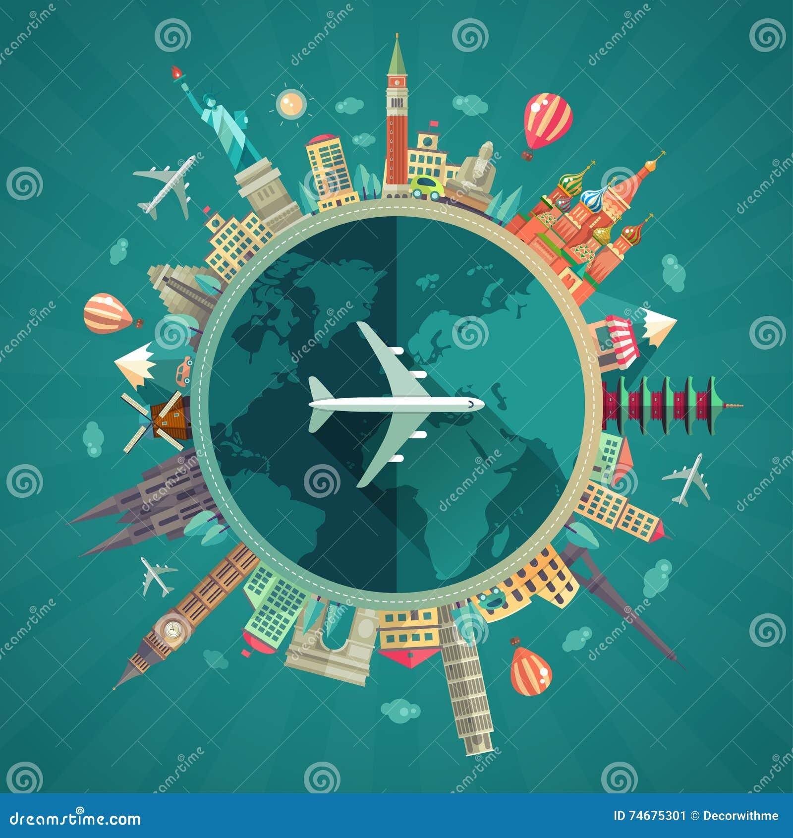 Travel around the world flat design illustration stock for Around the world cruise