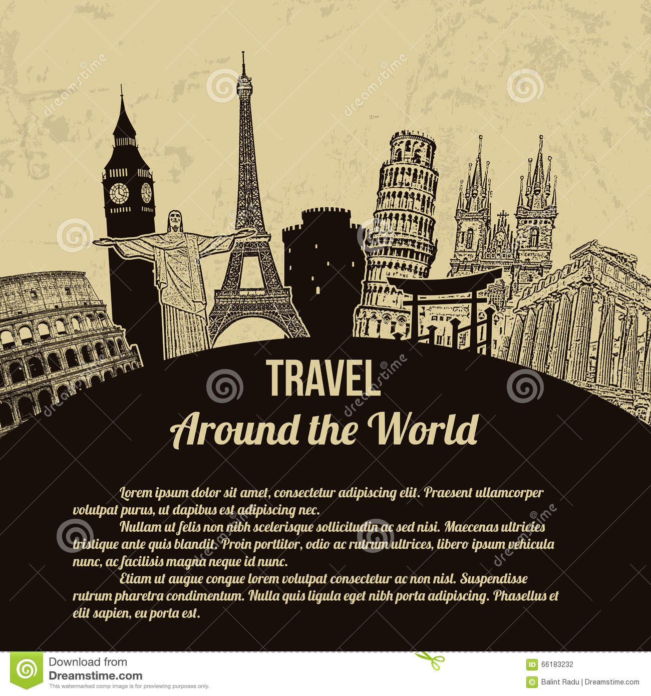 Visit japan touristic vector vector illustration for All inclusive around the world trip