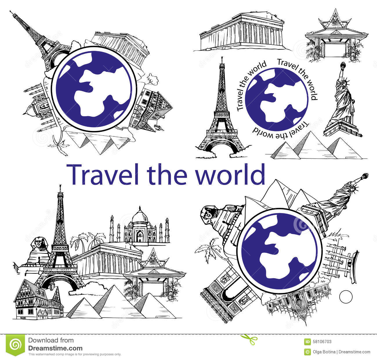 Download Travel Around World And Sights Stock Vector