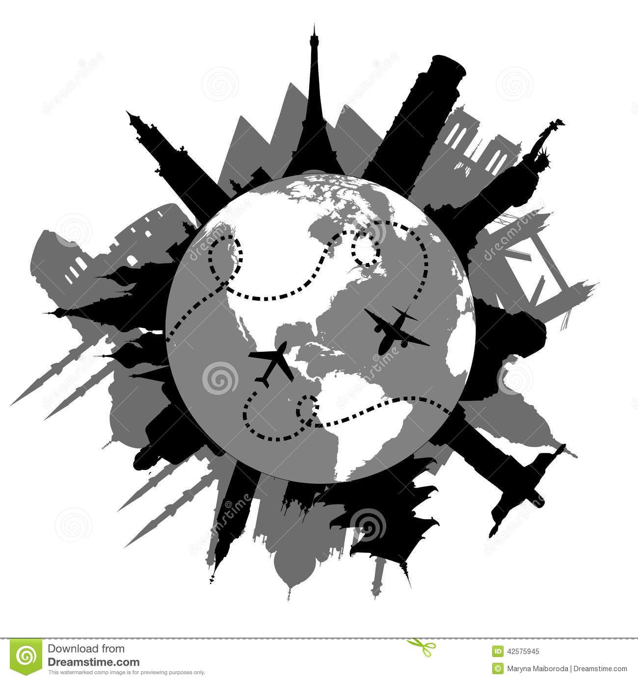 Download Travel Around The World Stock Vector Illustration Of Attractions