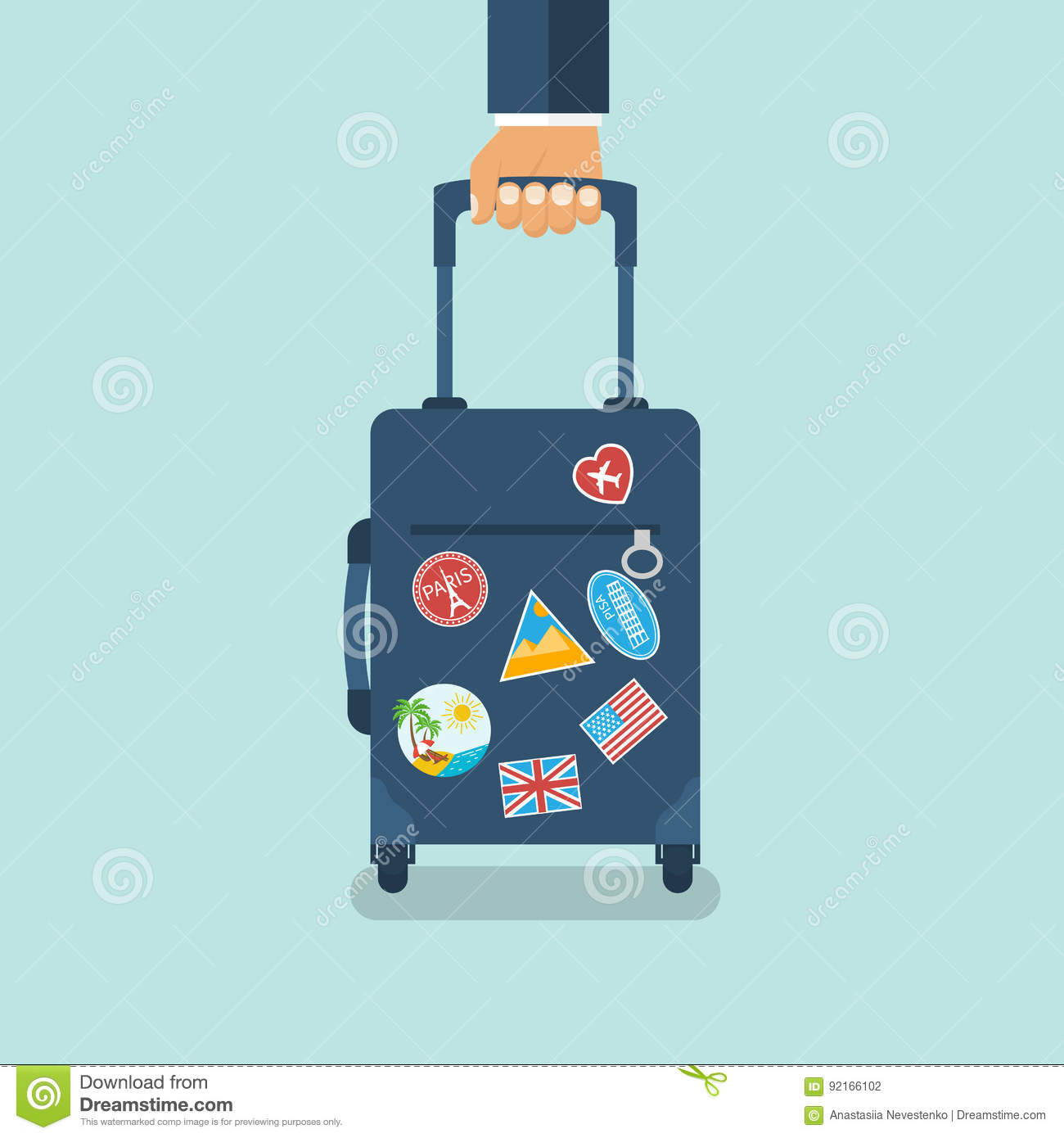 Travel Bag In Hand Carrying Suitcase Stock Vector Illustration Of Business Concept 92166102